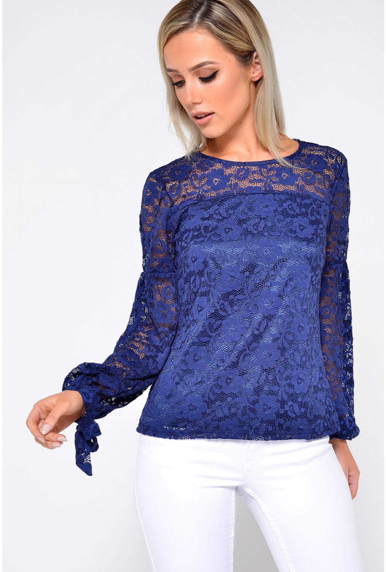 32a469adf94 Marc Angelo Pippa Long Sleeve Lace Top in Navy