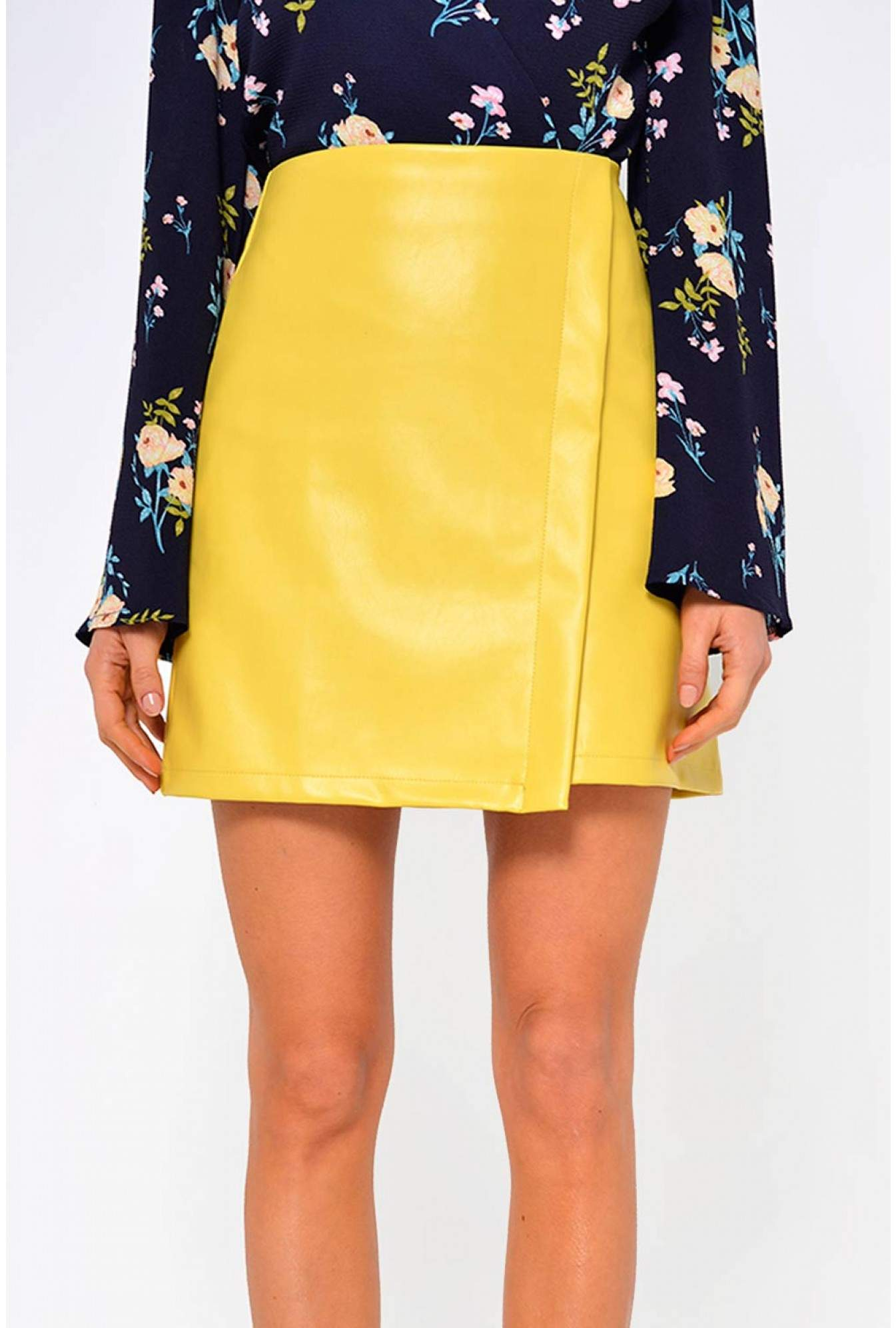 b9a2c5a9e42ec9 More Views. Tess Faux Leather Skirt in Yellow. Marc Angelo