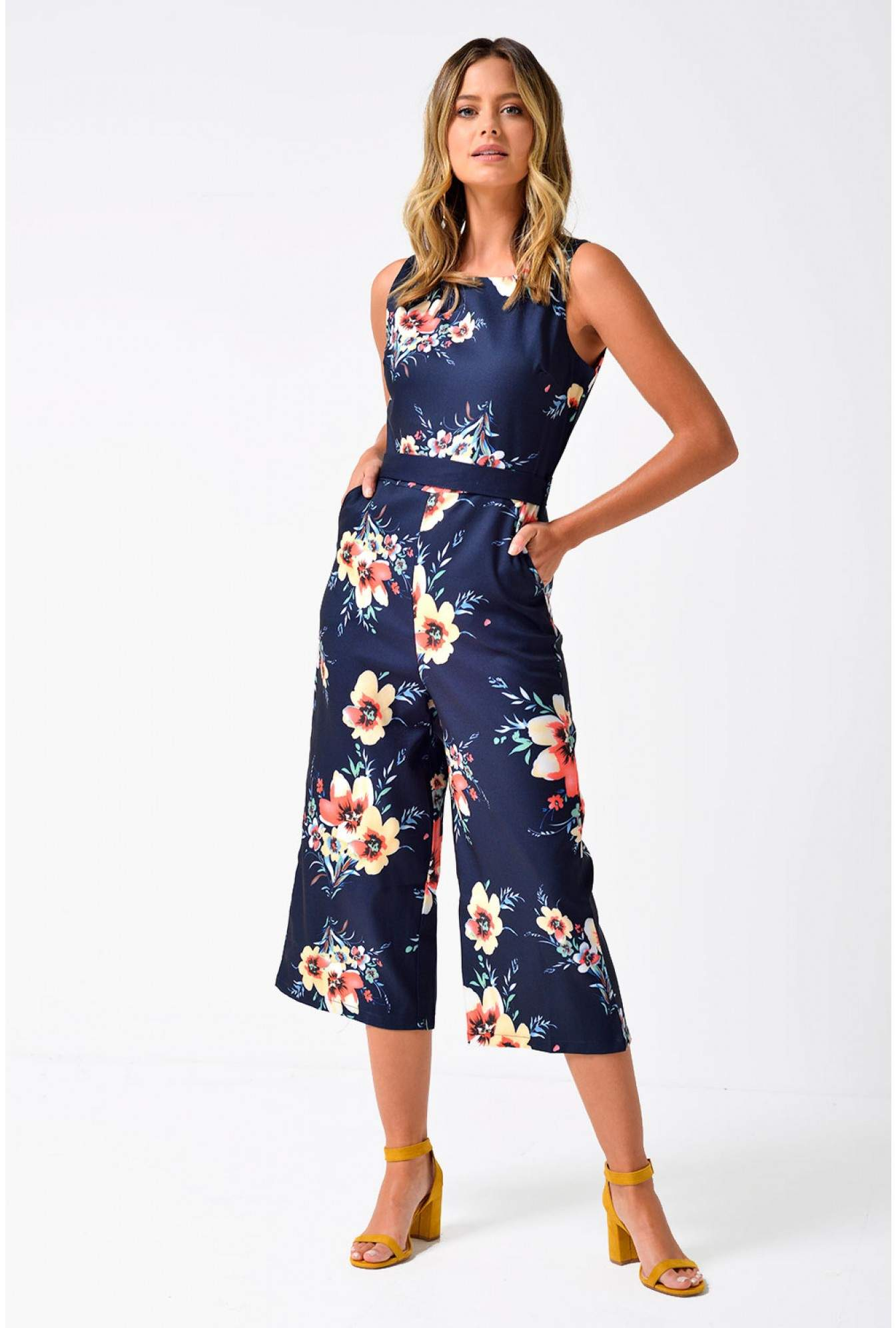 76509b00a639 Marc Angelo Carla Floral Culotte Jumpsuit in Navy