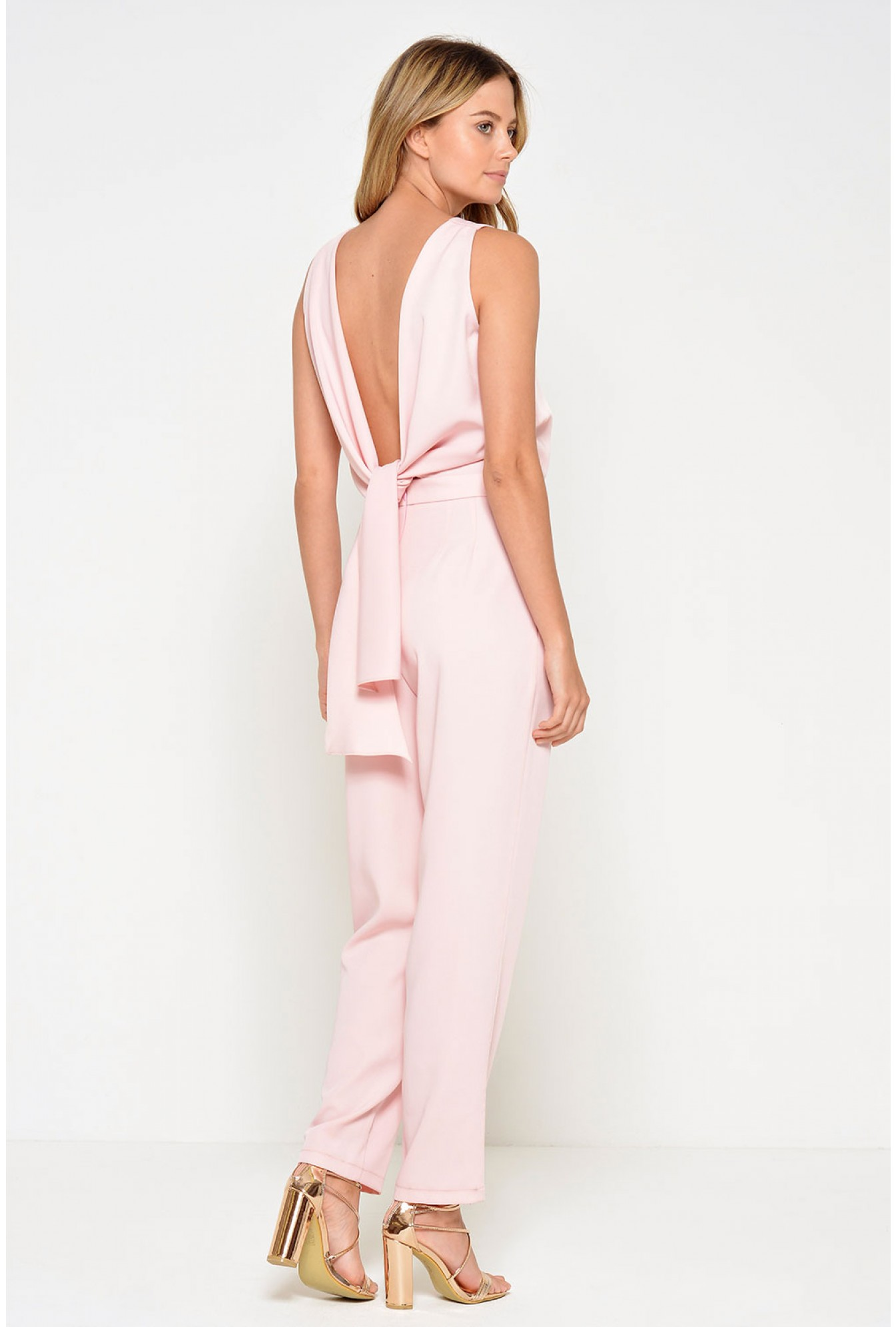 f0437f2f16b7 Marc Angelo Kelly Knot Back Jumpsuit in Blush