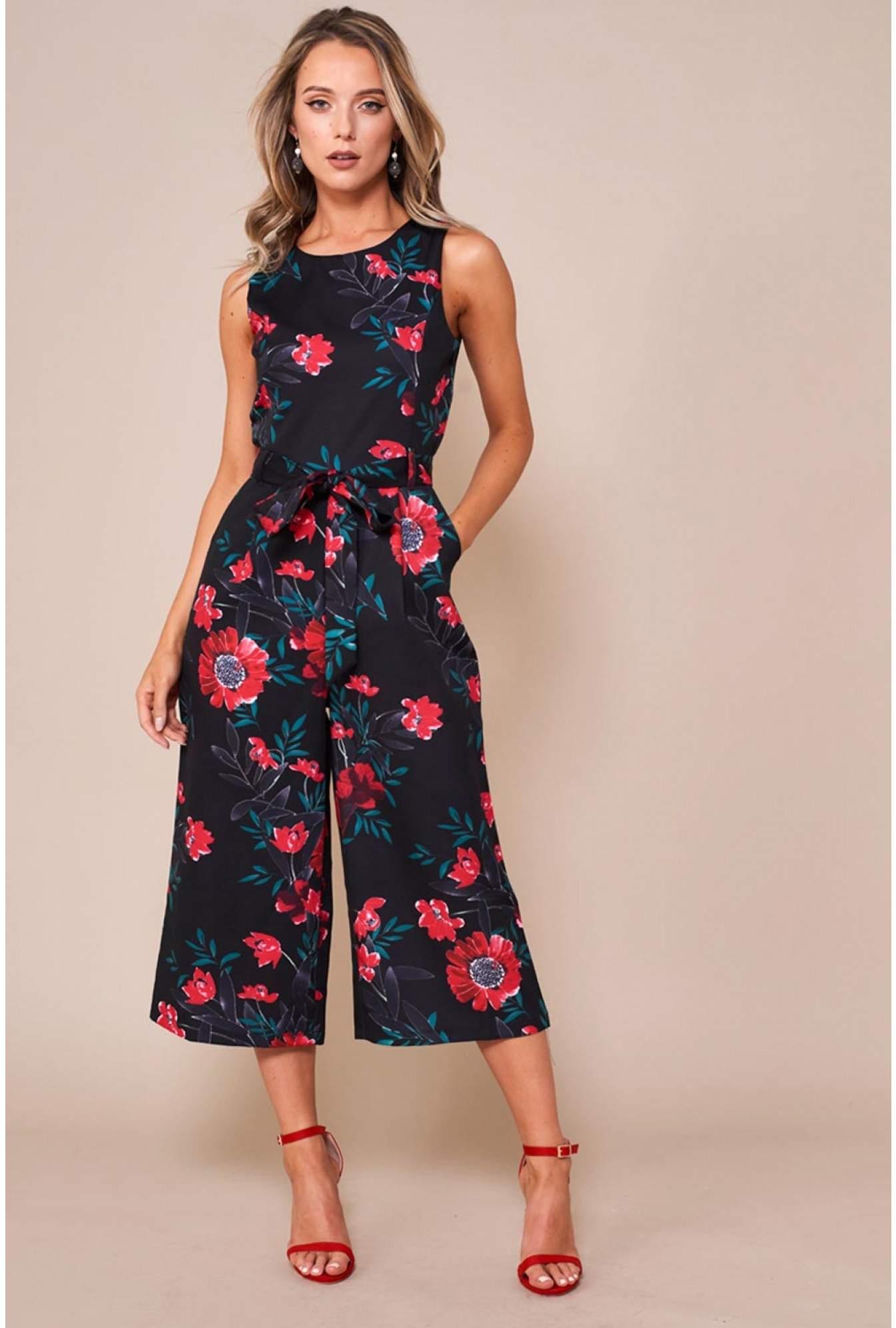 70ae65a12202 Marc Angelo Katie Longline Floral Jumpsuit in Black