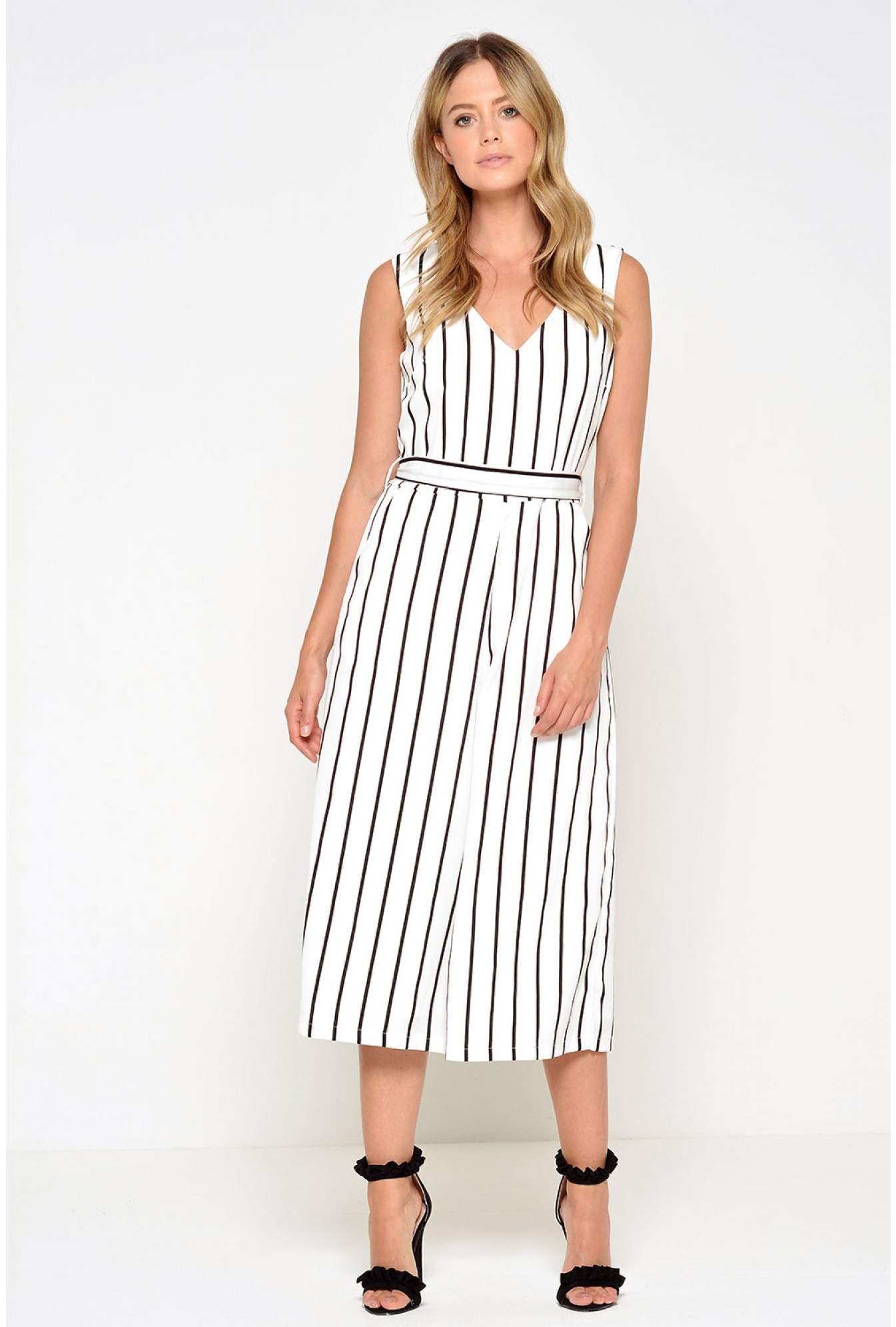 d94e3f90e1f More Views. Valerie Striped Culotte Jumpsuit in White
