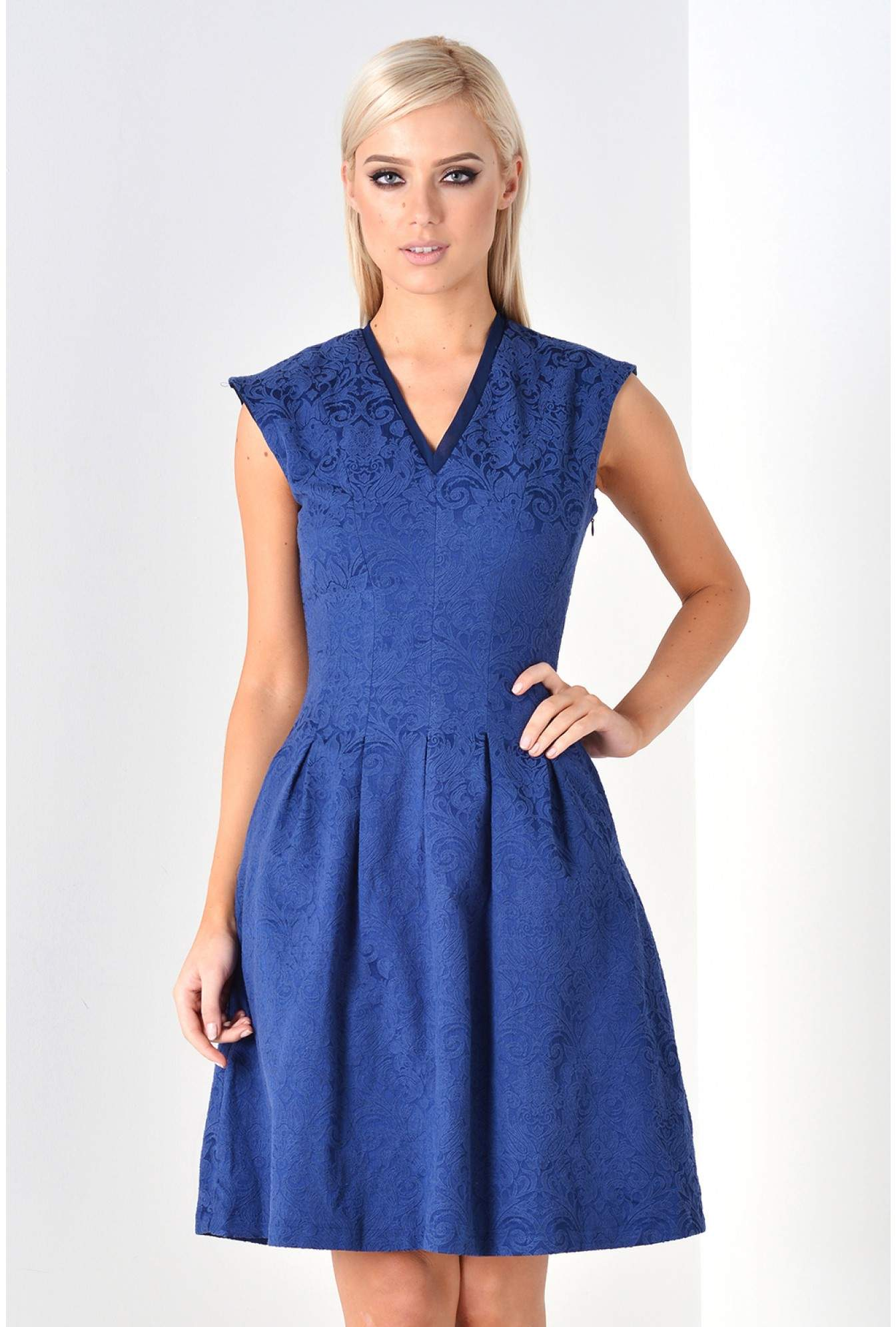 Marc Angelo Clarice Jacquard Skater Dress in Navy  3ca59b37a