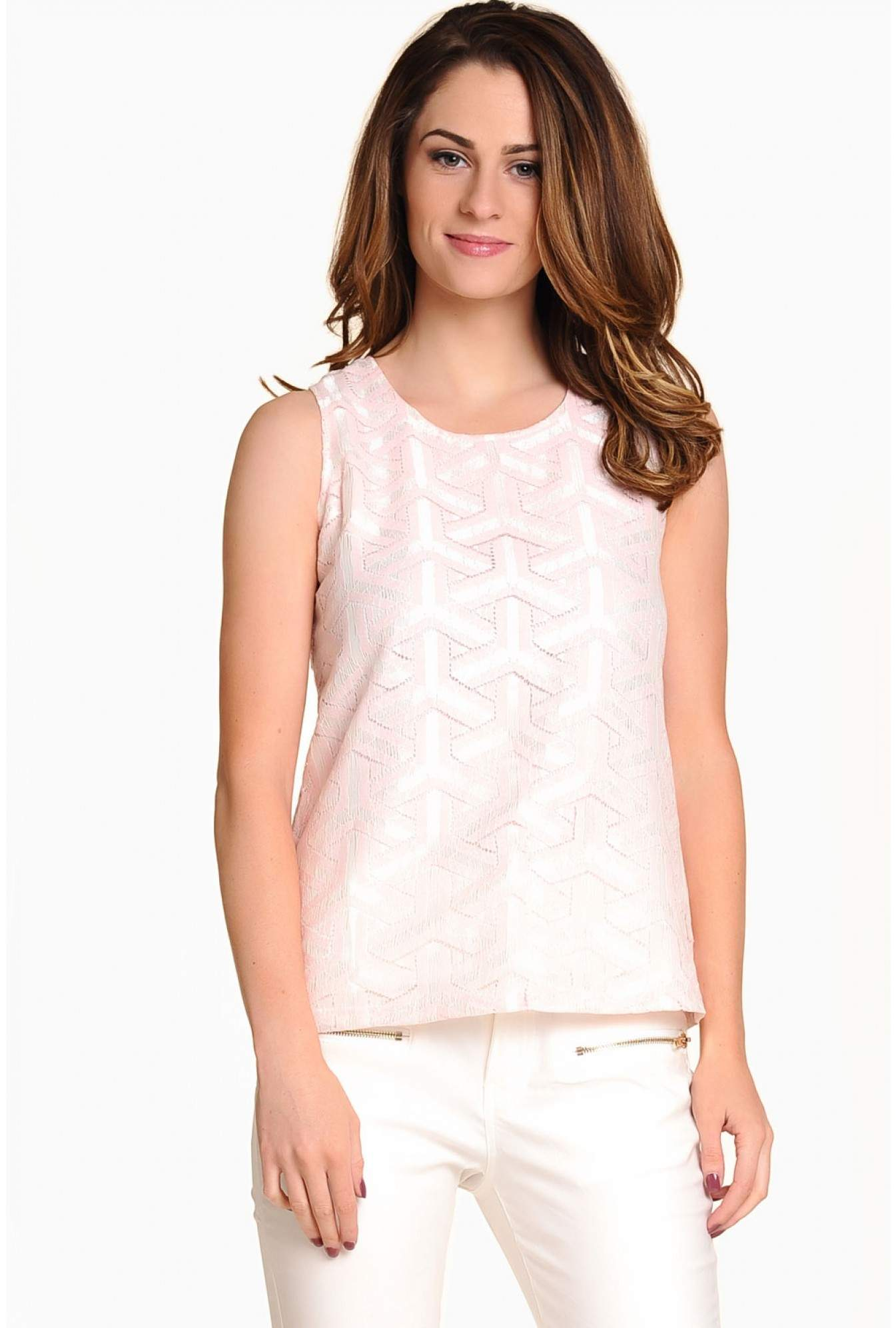 4c09b91623f Marc Angelo Zara Lace Top in Pink