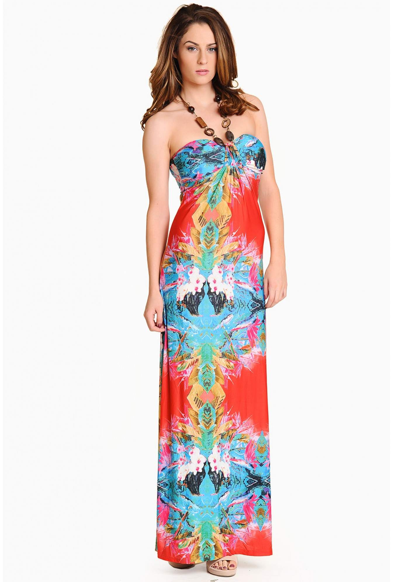 65b6673ac7e505 More Views. Amber Floral Halter Neck Maxi Dress in Multi Blue