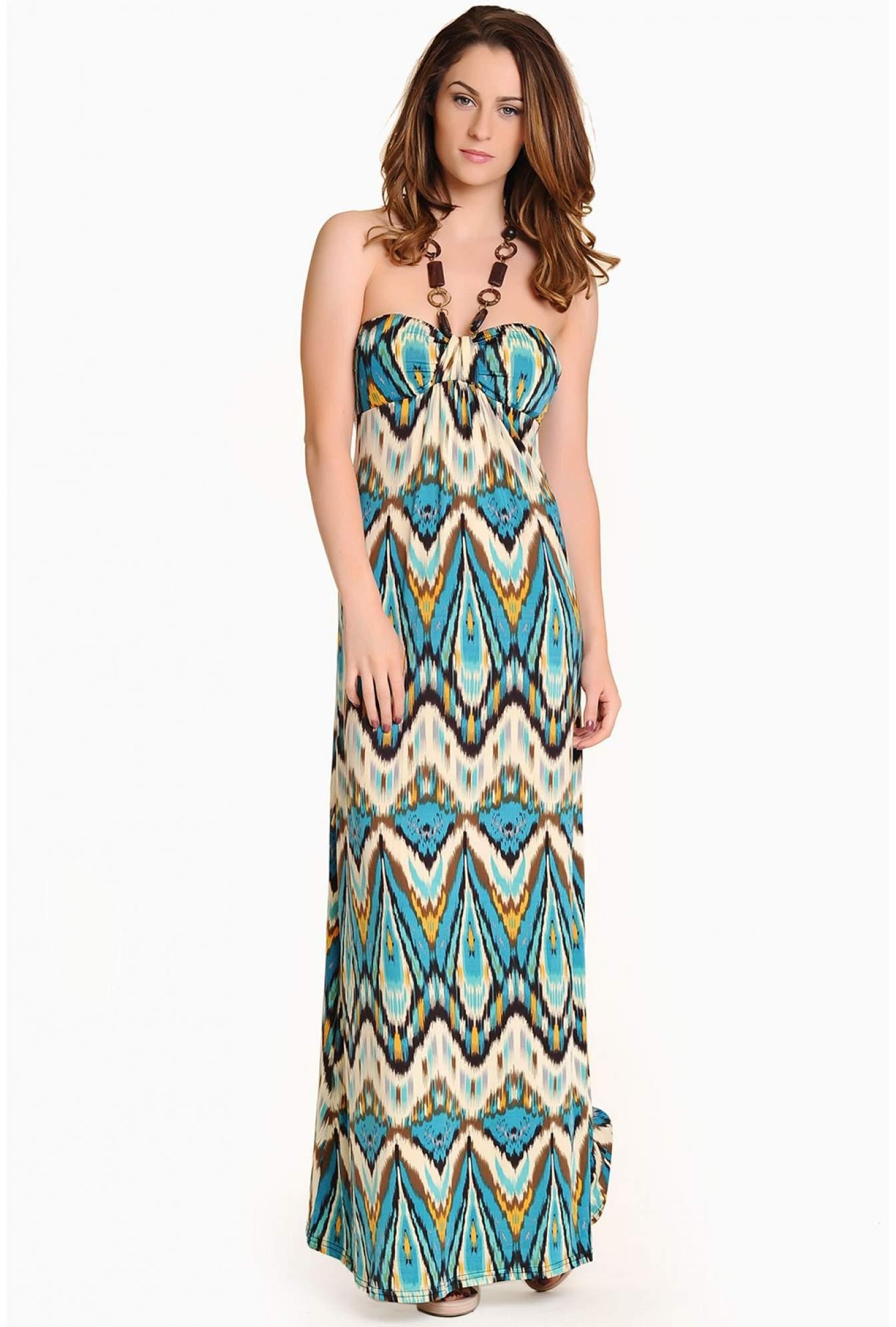 b9202374fd055 Stella Virginia Tribal Halter Neck Maxi Dress in Turquoise | iCLOTHING
