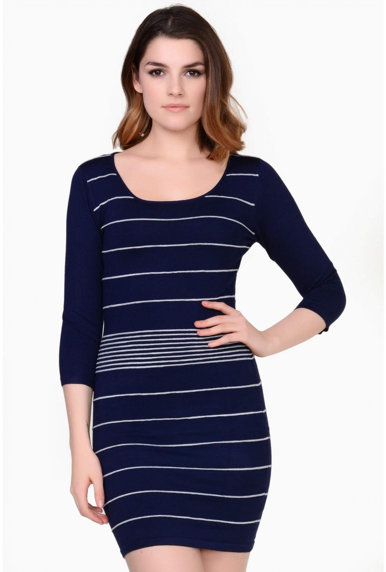 97c0272105 Stella Kathleen Striped Bodycon Knit Dress in Navy | iCLOTHING