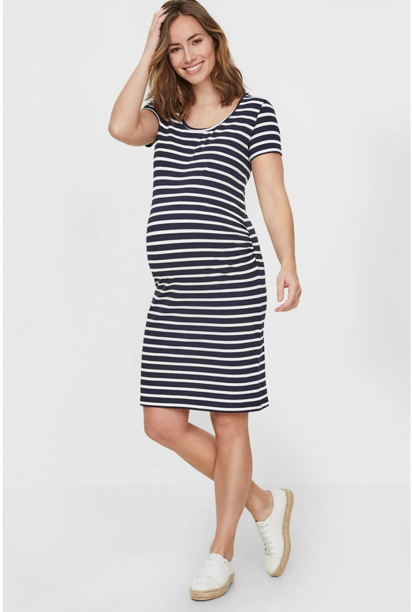 d1ea2d2dbf More Views. Lea Maternity Short Sleeve Dress in Navy Stripe. Mamalicious