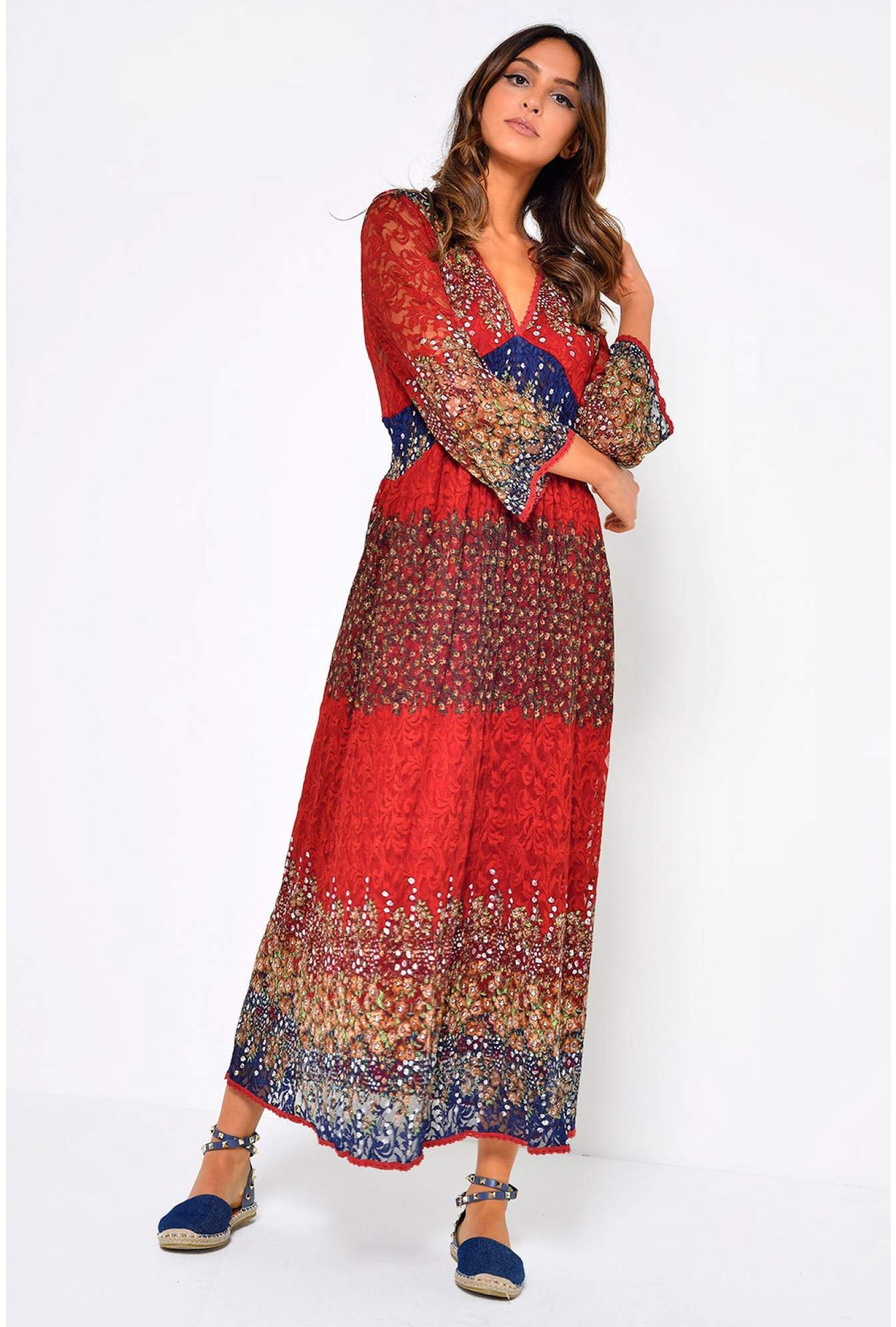 953307b32cf More Views. Zale Floral Print Maxi Dress in Red