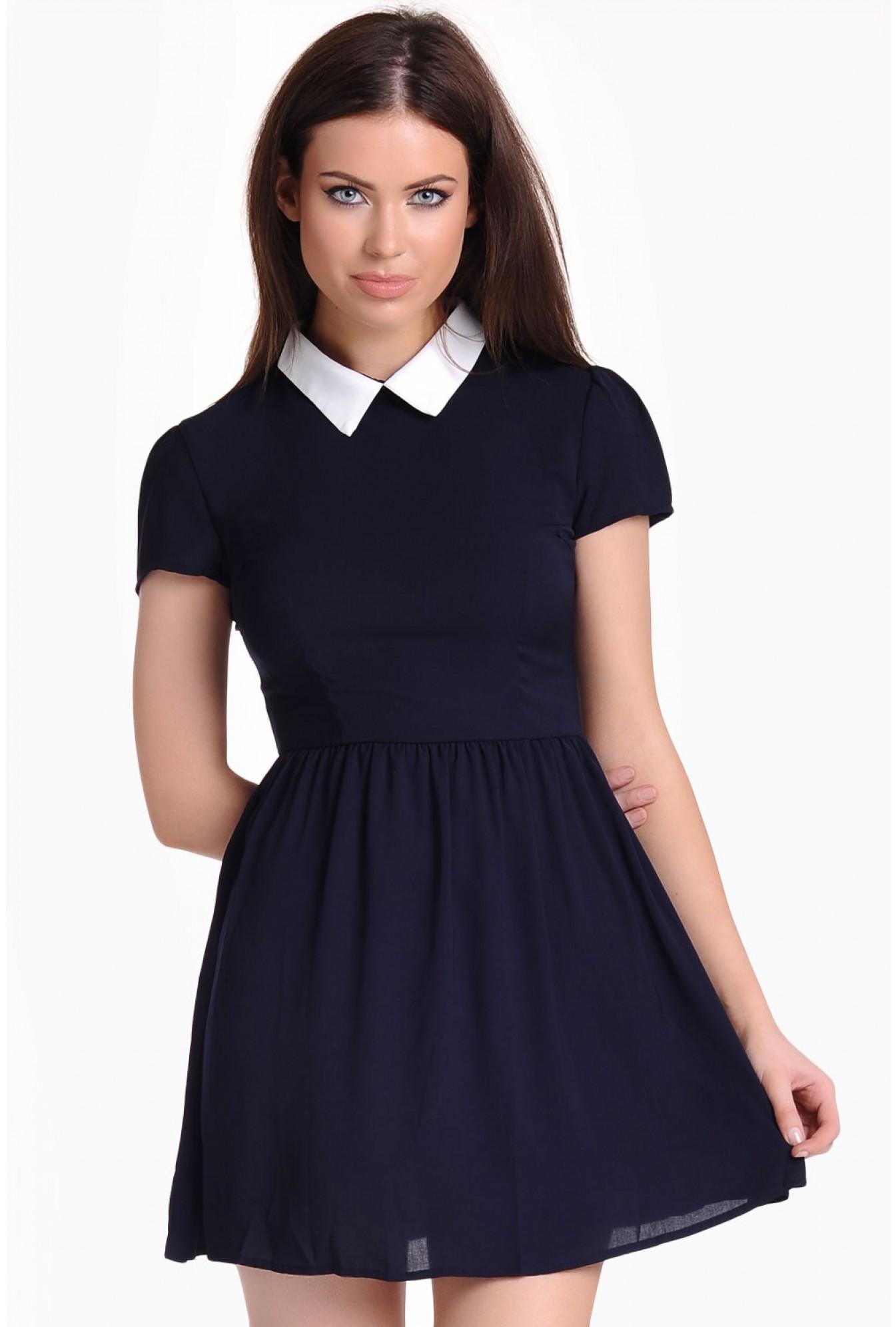 Glamorous Naya Collar Skater Dress in Navy  3af398c79