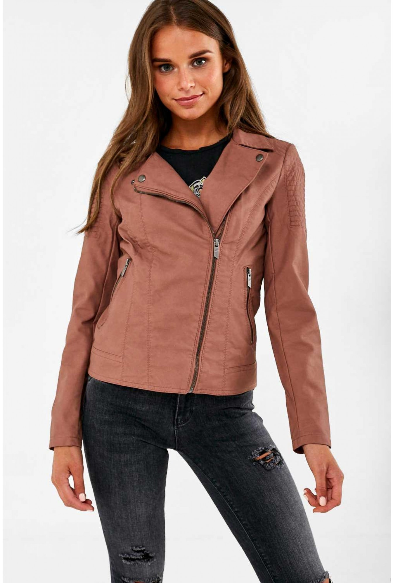 new release 100% top quality buy sale Only Megan Faux Leather Biker Jacket in Cognac   iCLOTHING