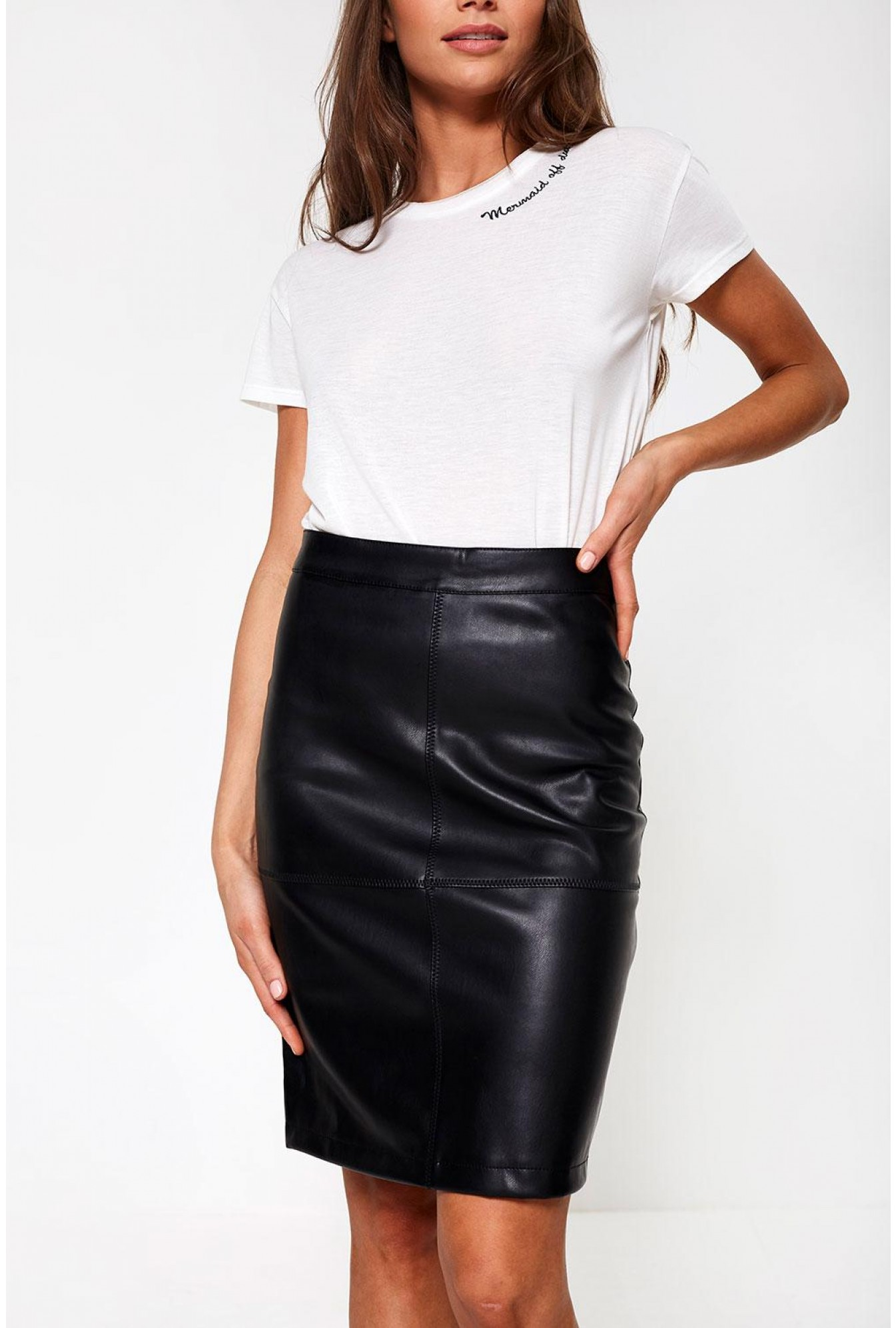 ca93aad681 Vila Mia PU Pencil Skirt in Black | iCLOTHING