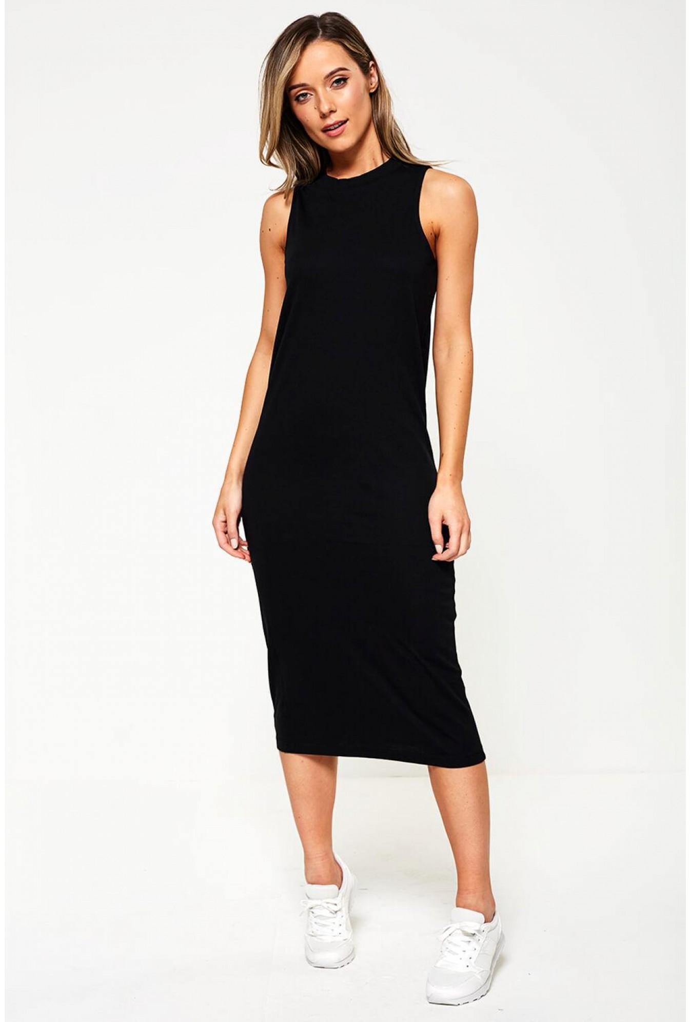 f580f5f46 Noisy May Sleeveless Midi Bodycon Dress in Black | iCLOTHING