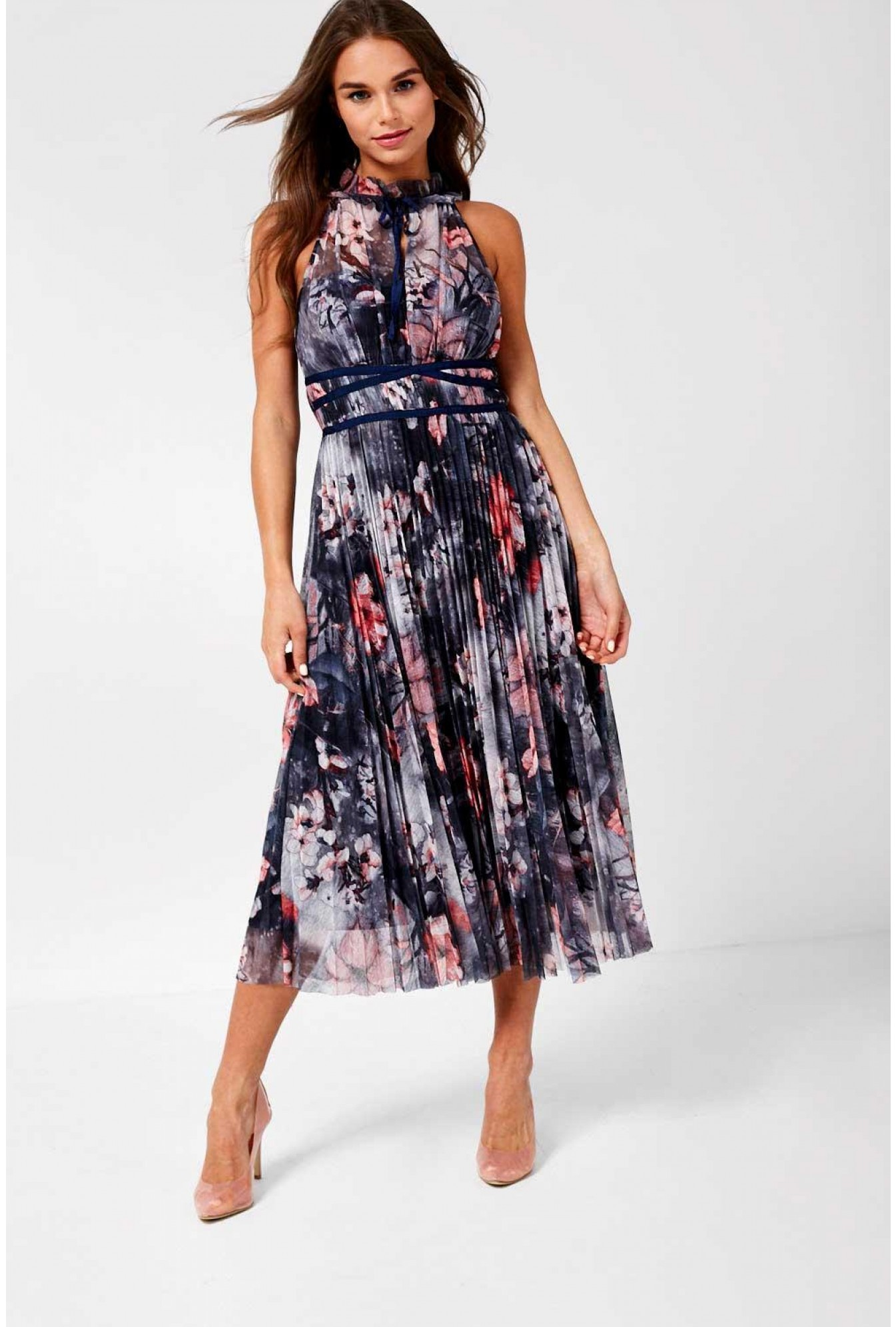 849b754065096 Stella Hannah Occasion Midi Dress in Grey Floral Print | iCLOTHING