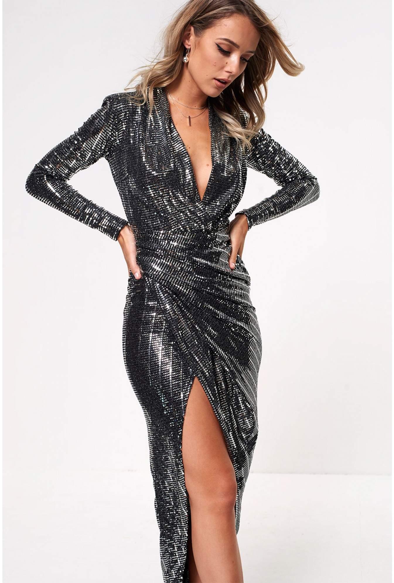 fb73f2933f02 More Views. Kim Deep V Midi Dress in Silver Sequin