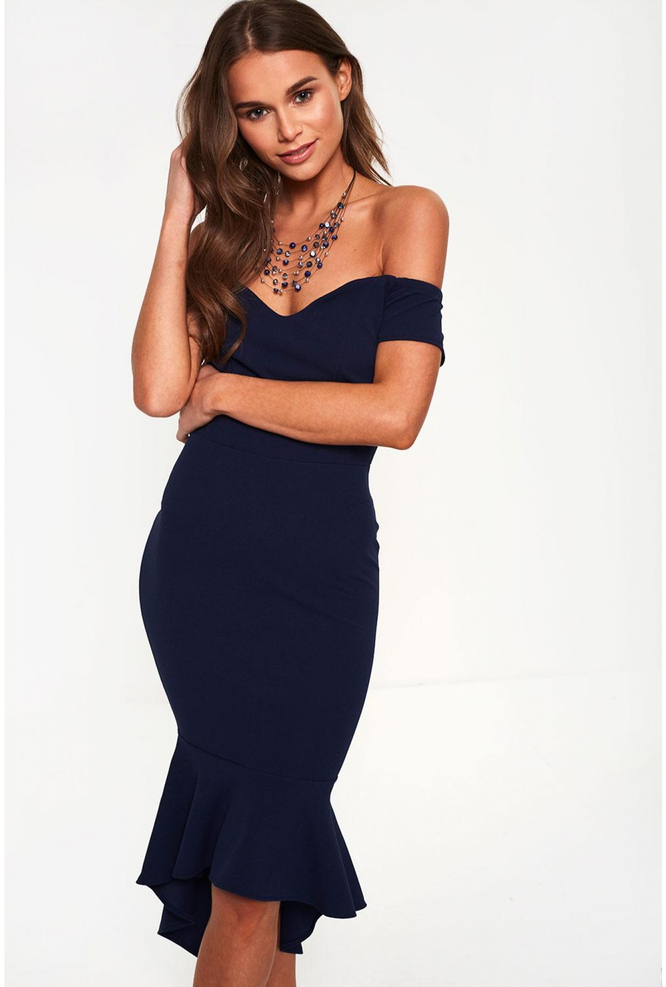 e21ec24dd Bardot Midi Dress with Fishtail in Navy
