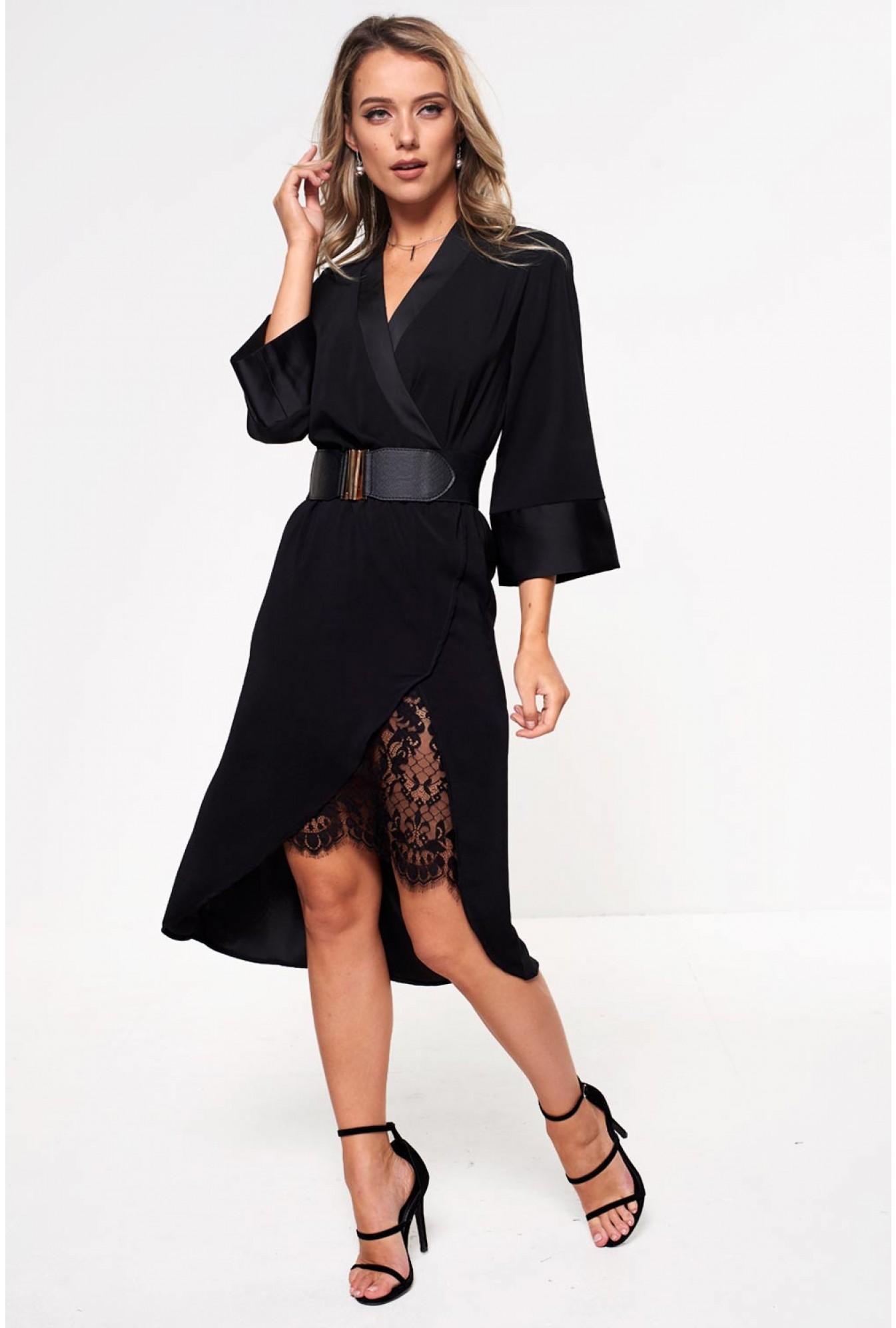 c3449f132ce Vila Milena Midi Dress with Lace Insert In Black