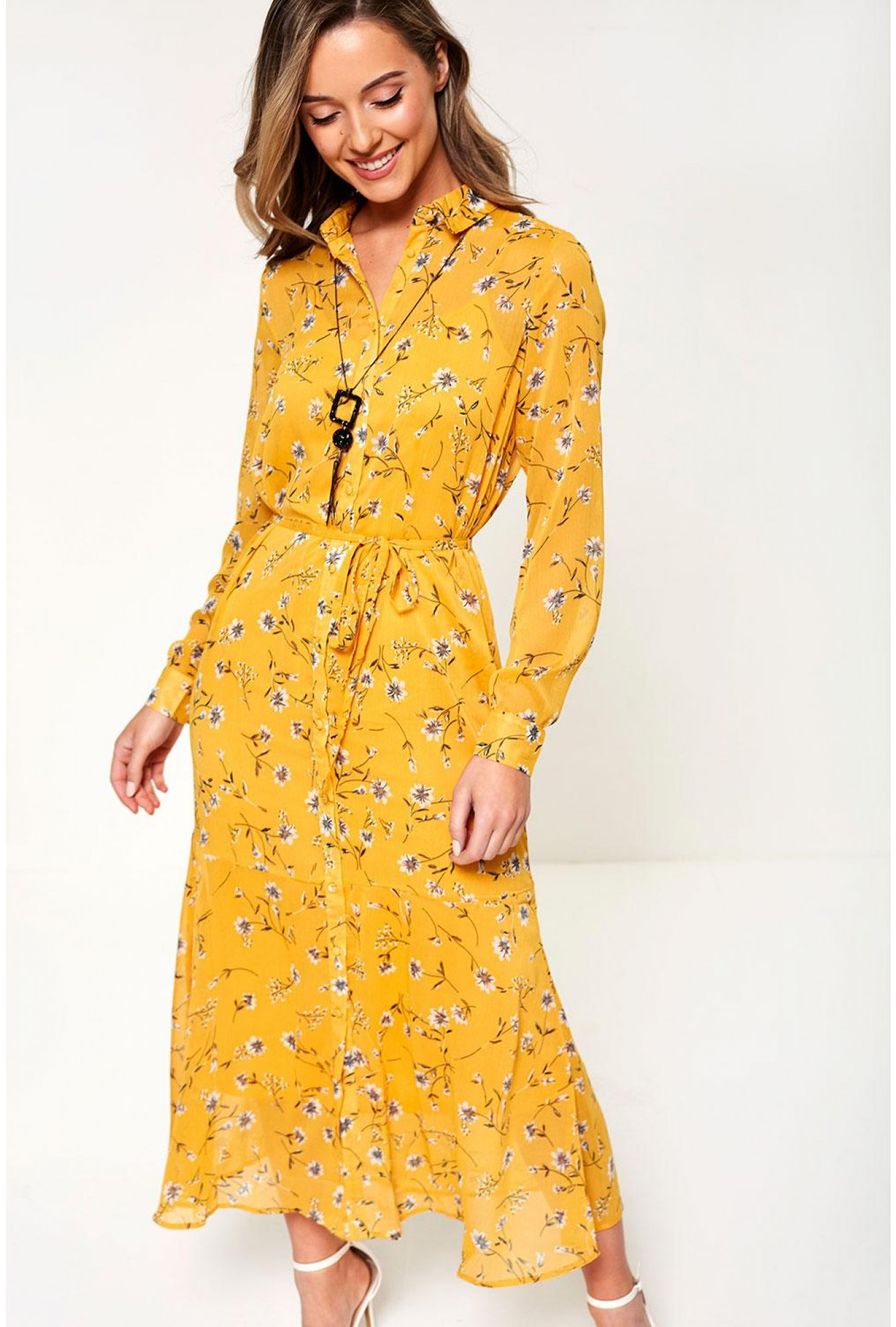 f921c4abf Only ONLSheena Midi Floral Print Dress in Mango | iCLOTHING