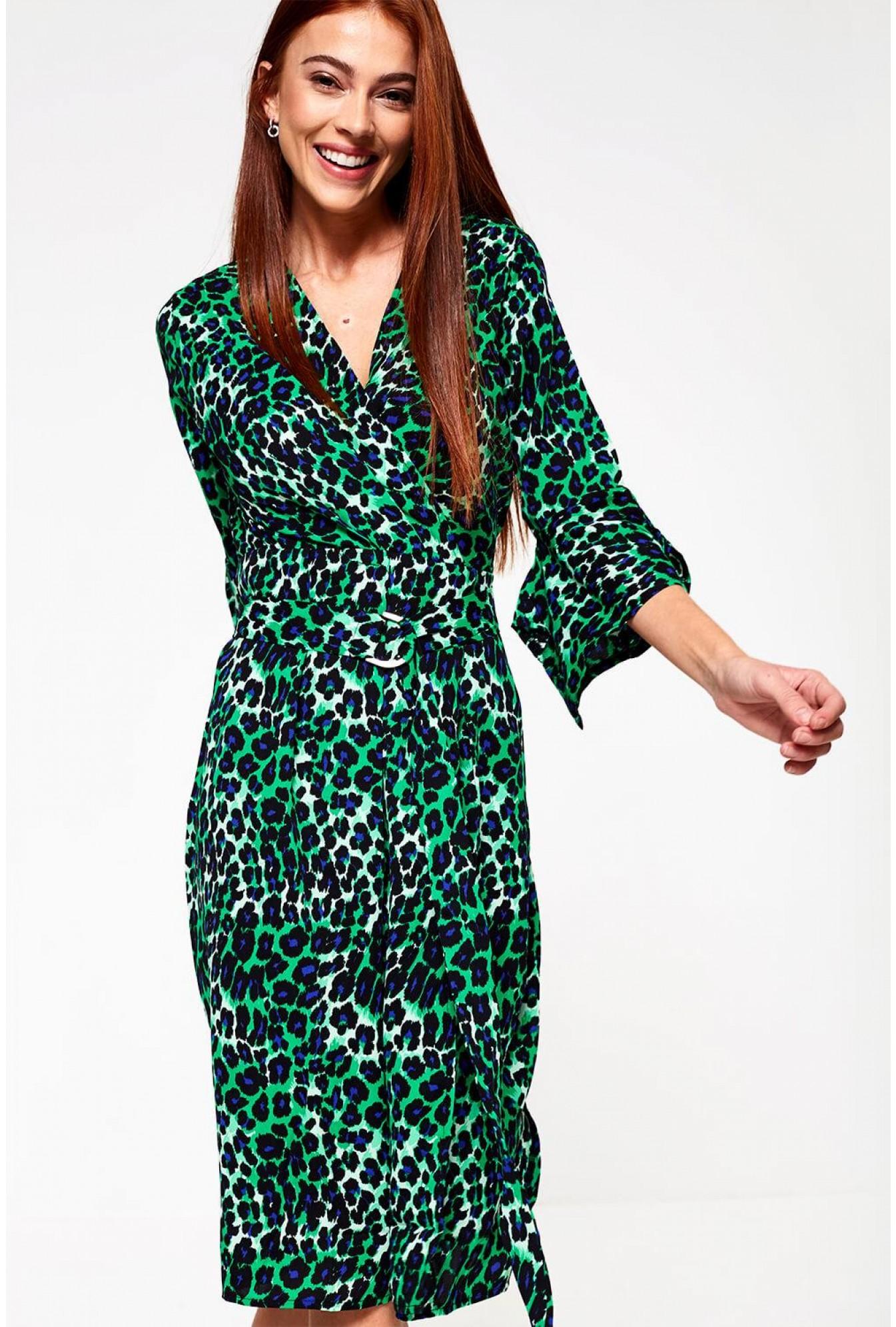 ccd5ab72c9eb Elli White Angelique Midi Wrap Dress in Green Animal Print | iCLOTHING