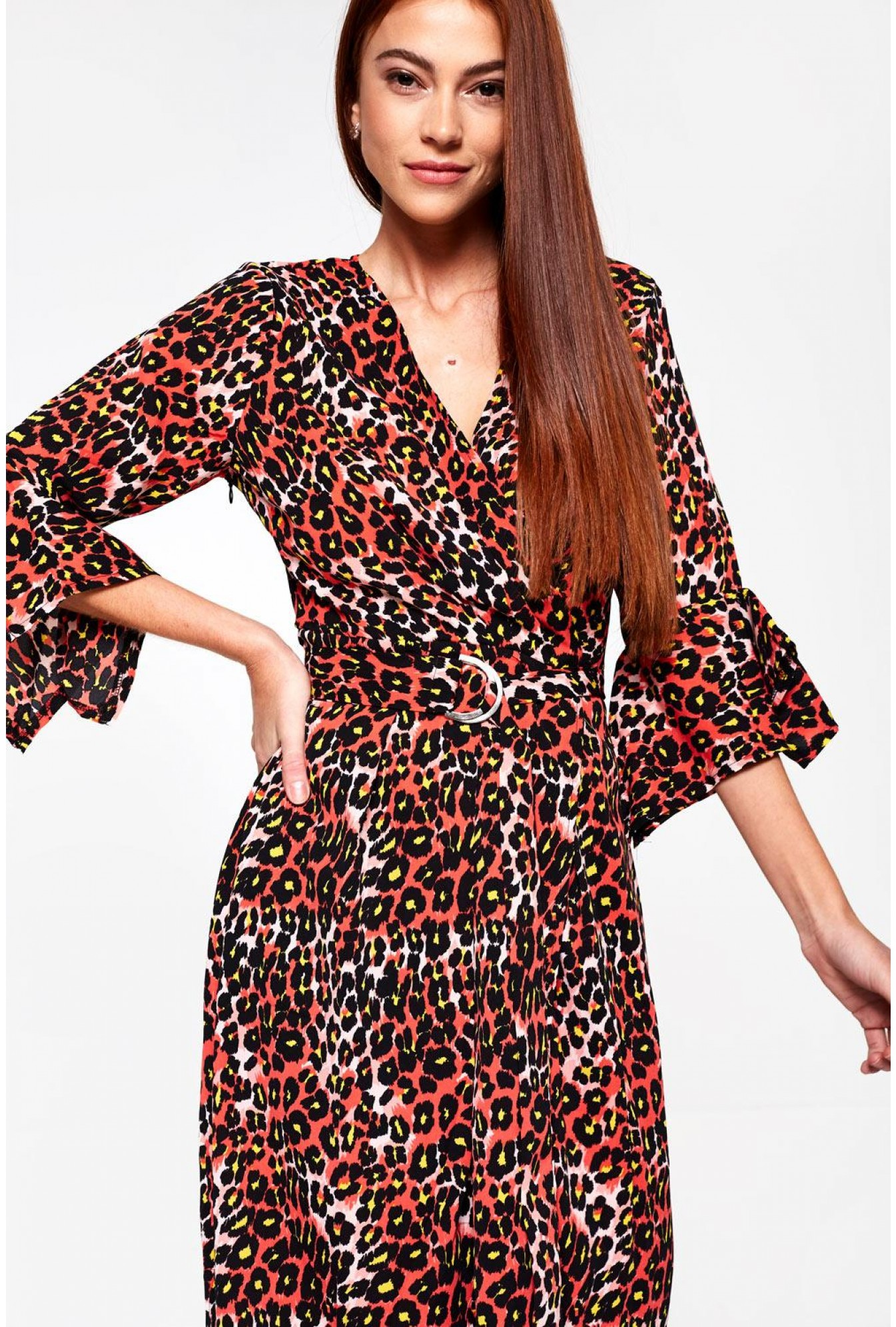 More Views. Angelique Midi Wrap Dress in Red Animal Print 09d7a94d1