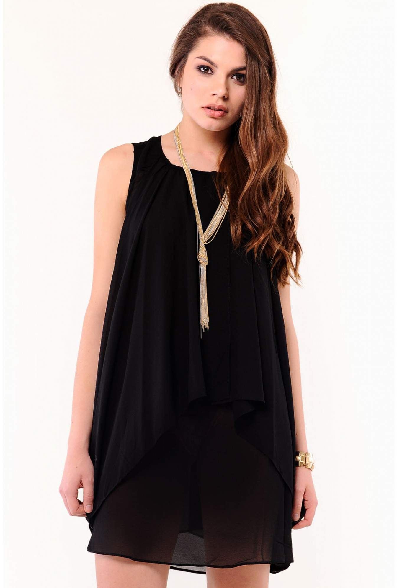 Black Asymmetric Chiffon Dress