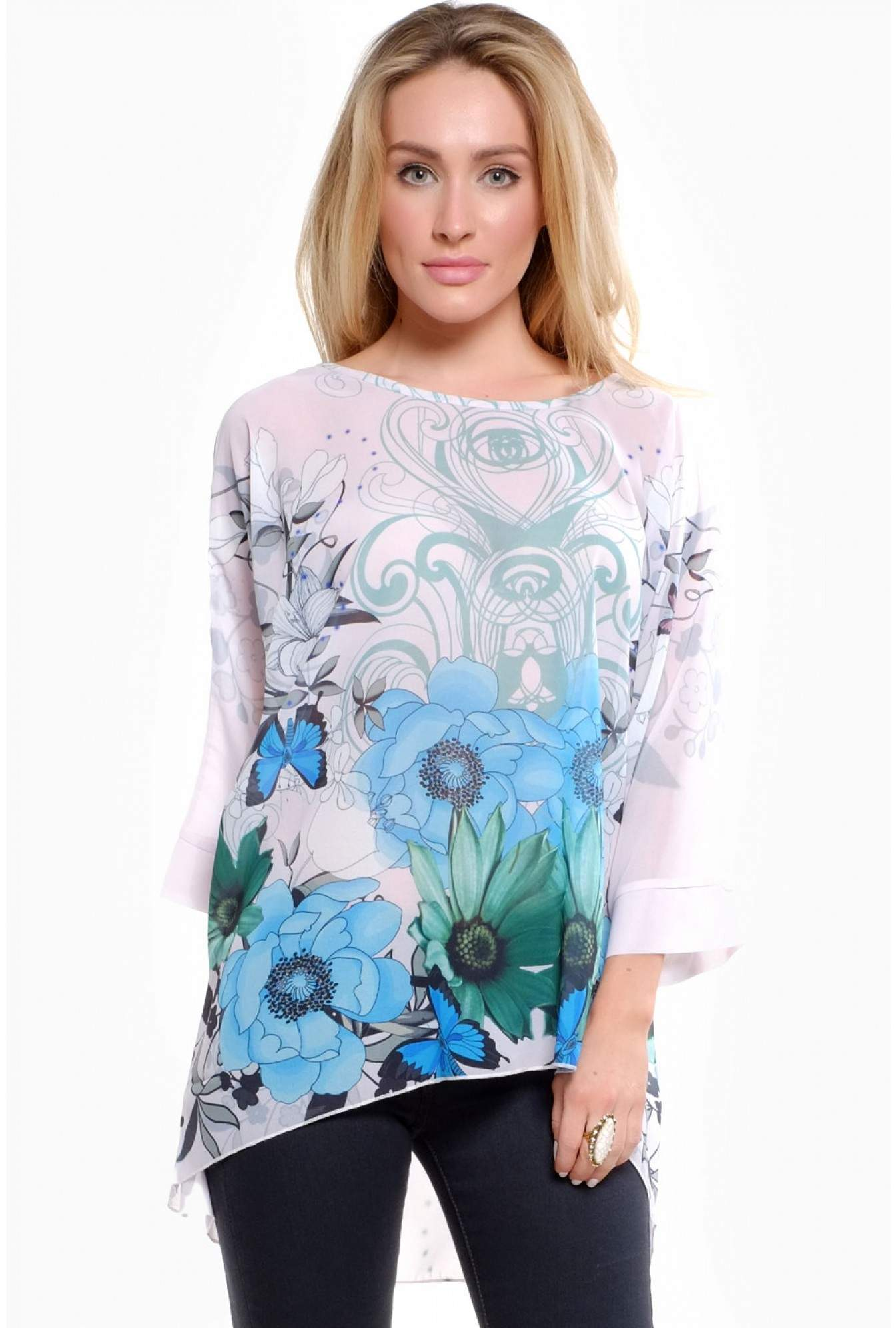 4f1f9ec4b3da2a Kelly Floral Batwing Tunic Top in Cyan and Pink