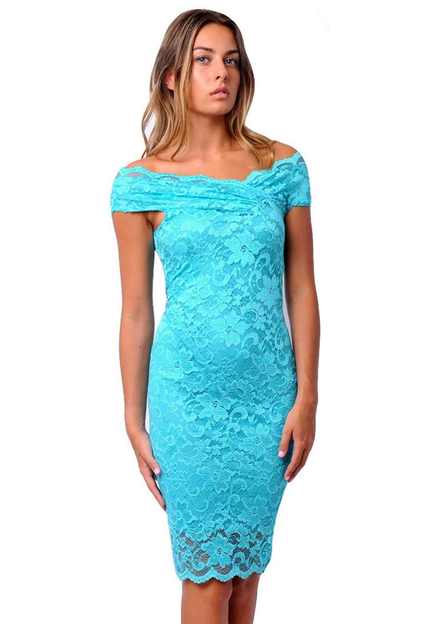 45a6b084604e More Views. Olivia Off Shoulder Lace Midi Dress in Turquoise