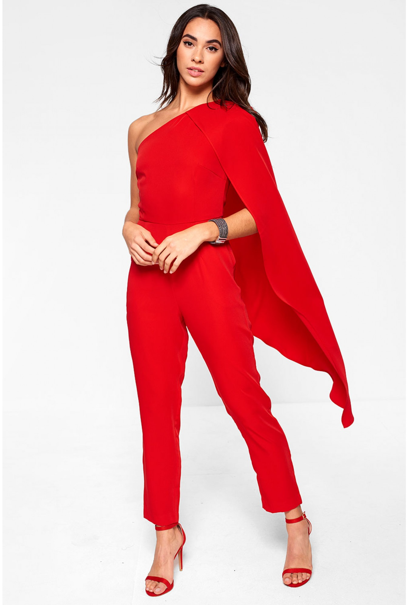 More Views. Lavish Alice One Shoulder Cape Tailored Jumpsuit in Red. Soho  Market 80674641b