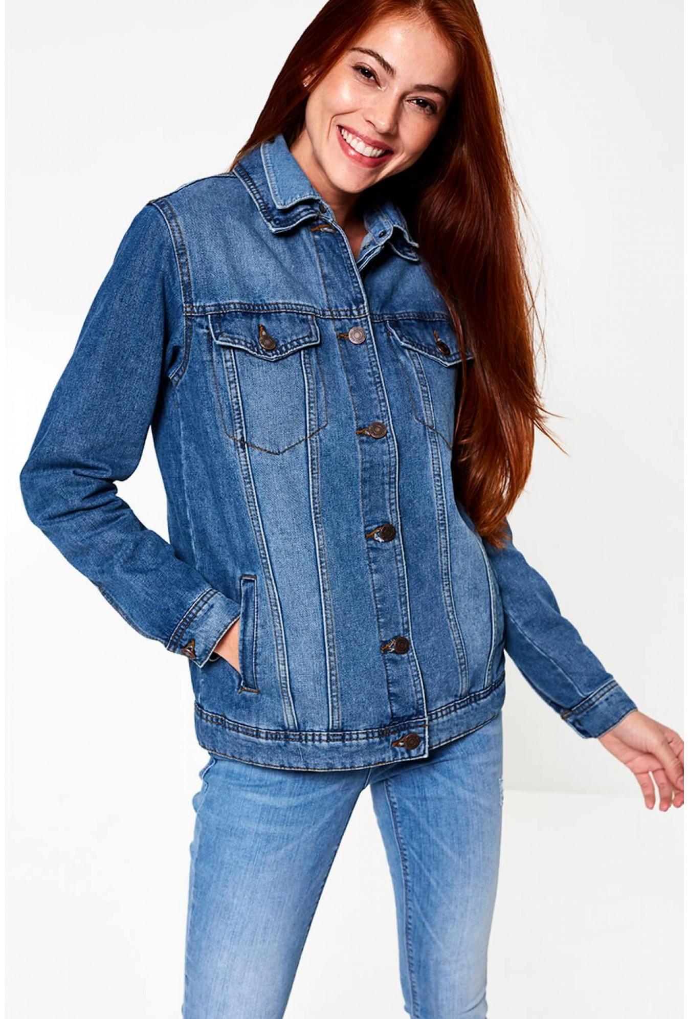 80f3b2f17318 Noisy May Ole Oversized Denim Jacket in Medium Blue
