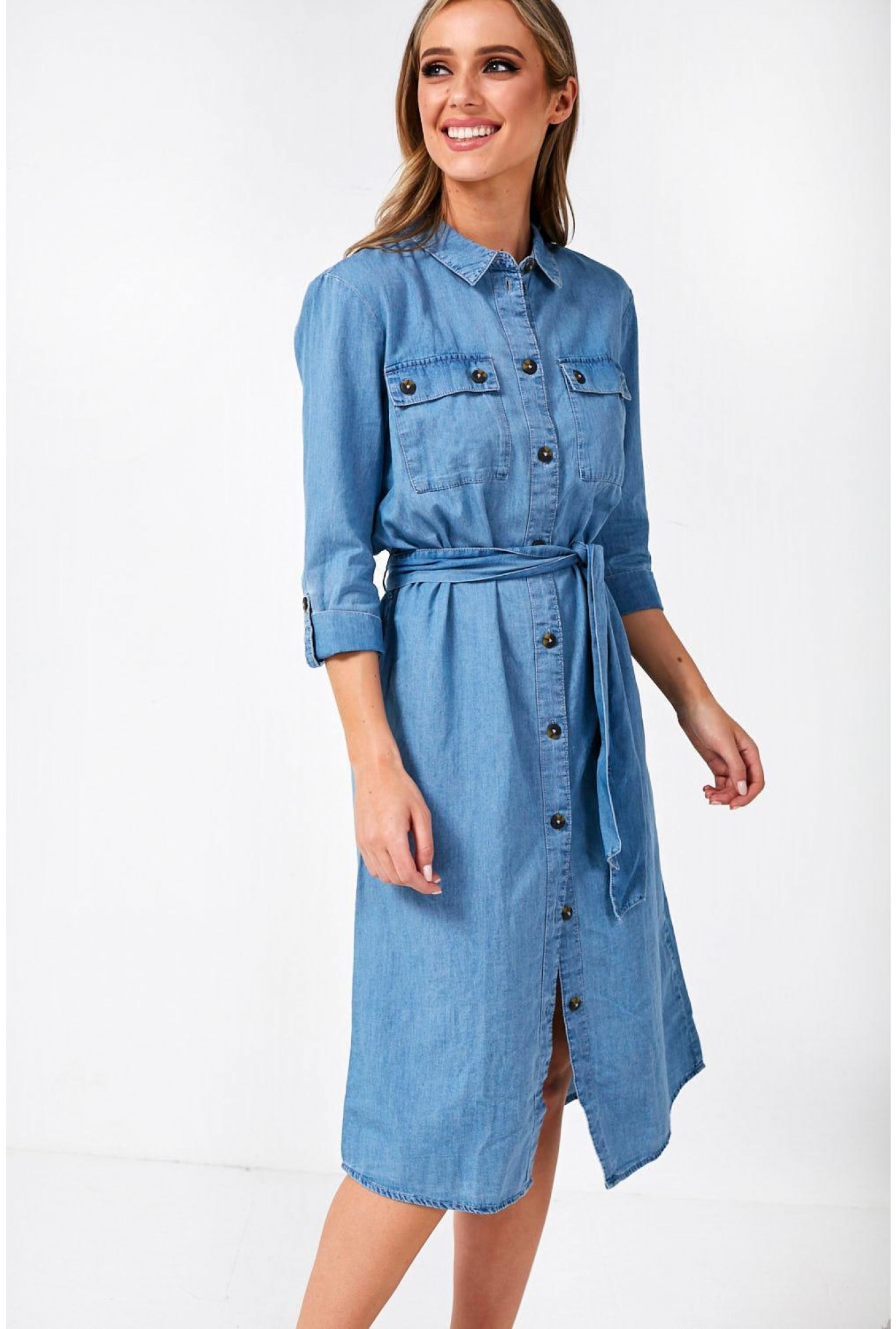0775059b33c JDY Paige Denim Shirt Dress in Light Blue | iCLOTHING