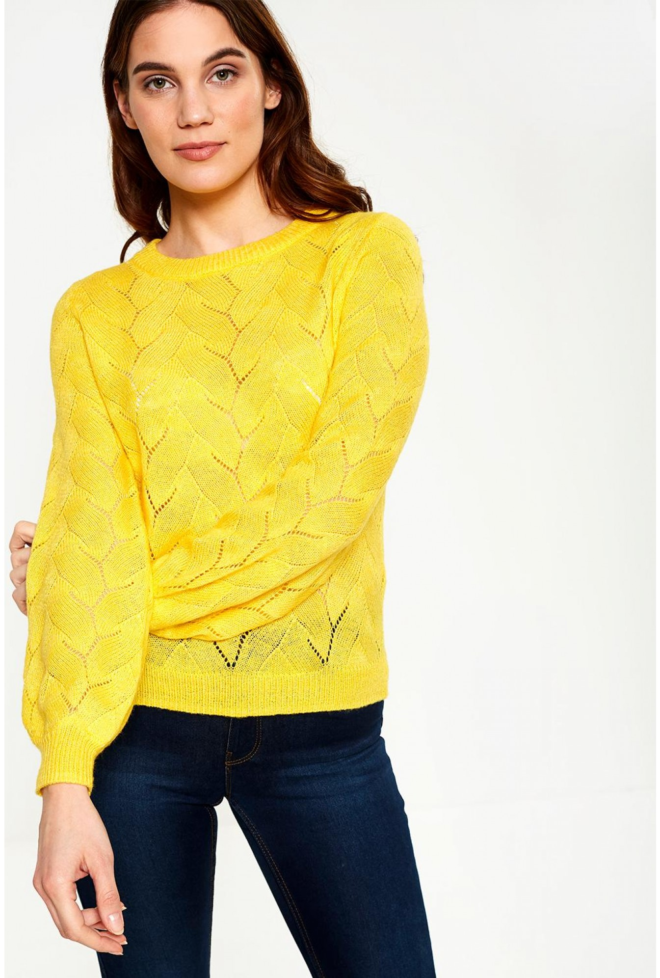 More Views. Peta Knit Jumper With Balloon Sleeve in Yellow 81c0cb8ca