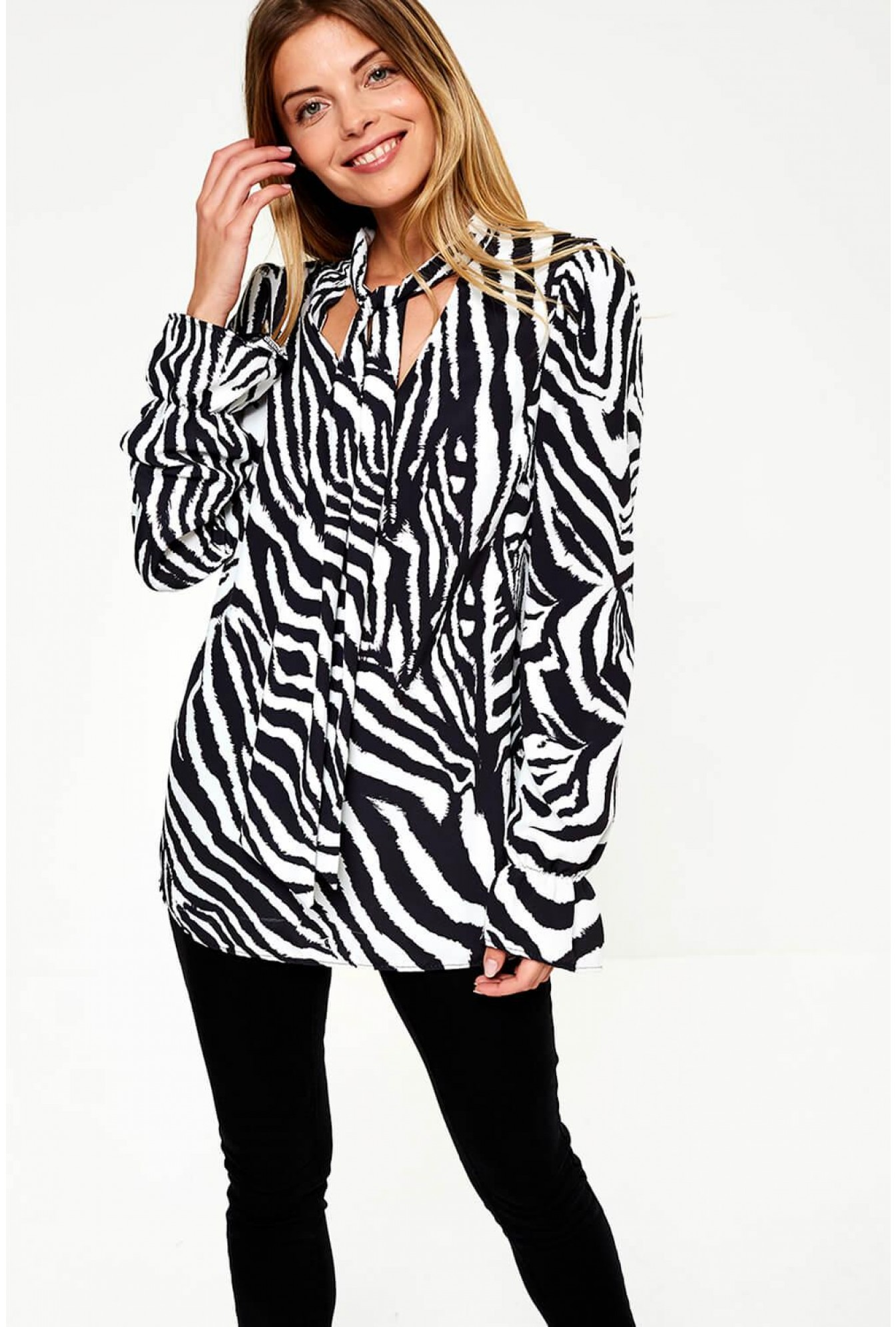 5064195245 Peyton Tie Neck Blouse in Zebra Print