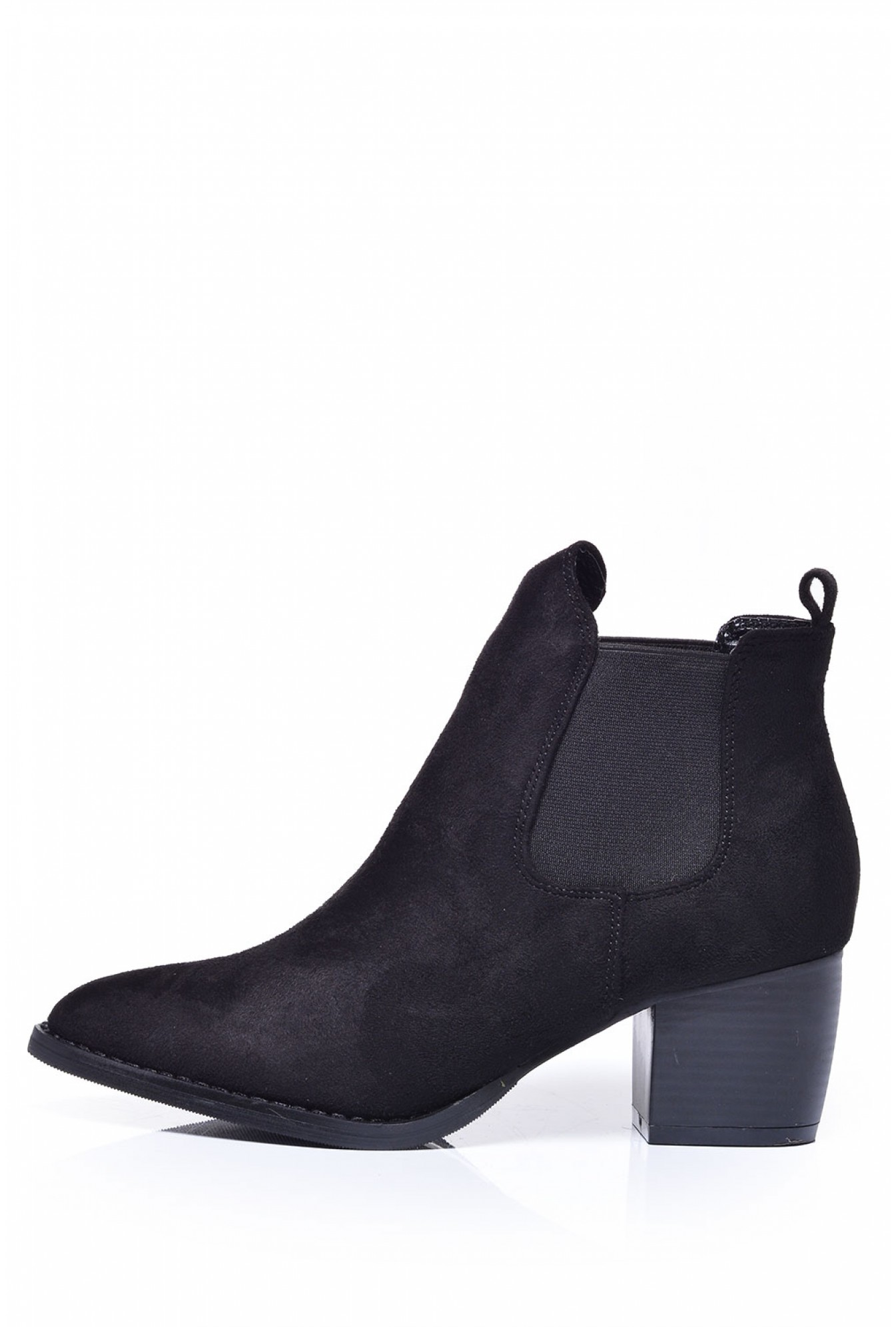 9607e116e0 No Doubt Paula Pointed Toe Ankle Boots in Black Suede | iCLOTHING