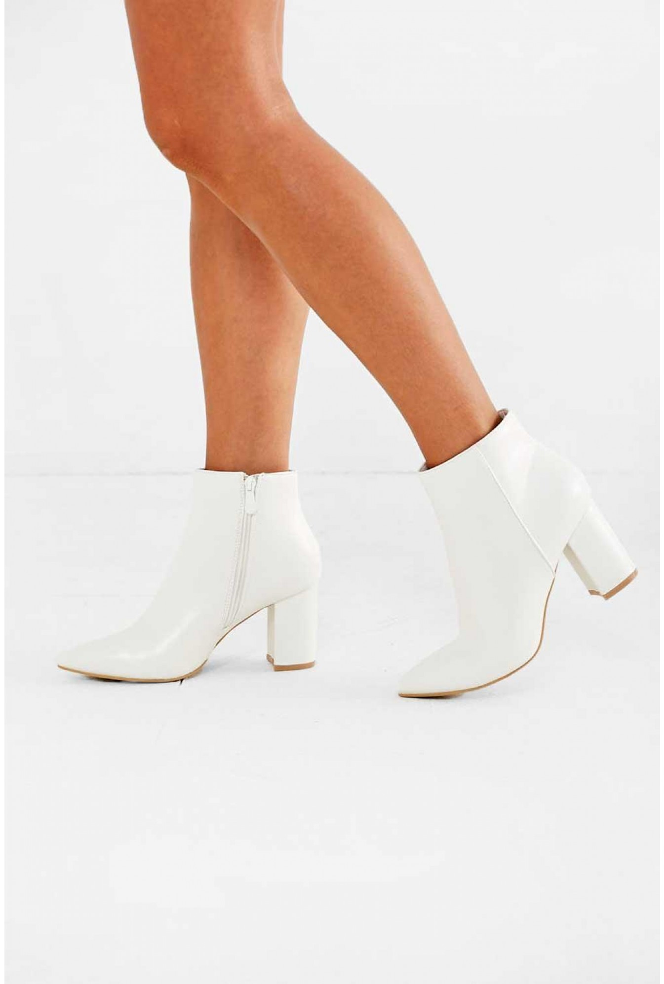 Cassidy Pointed Toe Ankle Boot in White