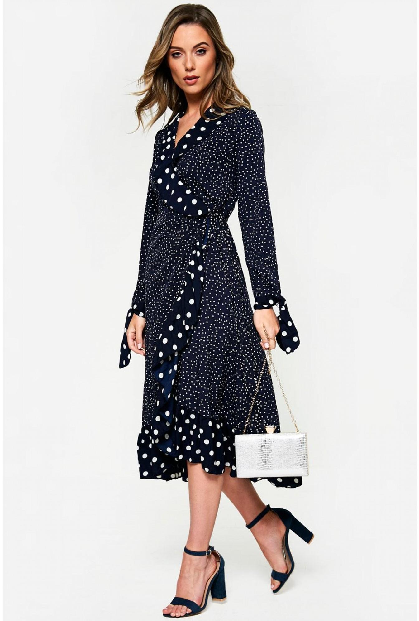 fbbd132751041 Saint Maine Polka Dot Wrap Dress in Navy | iCLOTHING