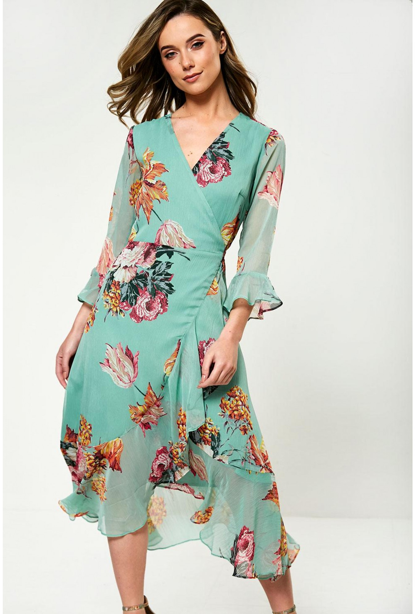 1ebc135aa8 YAS Floral Print Midi Wrap Dress in Mint | iCLOTHING
