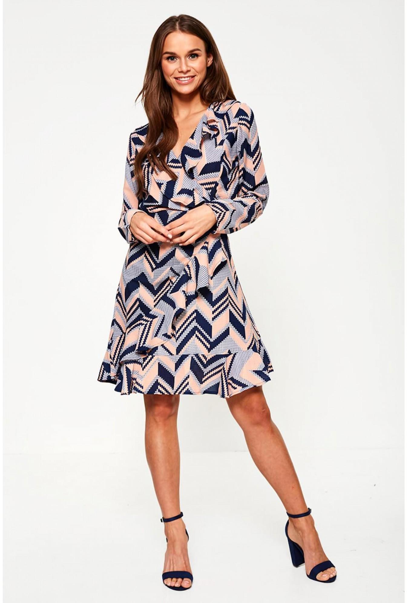 0d4b874f58 Marc Angelo Geometric Print Wrap Dress in Navy   iCLOTHING
