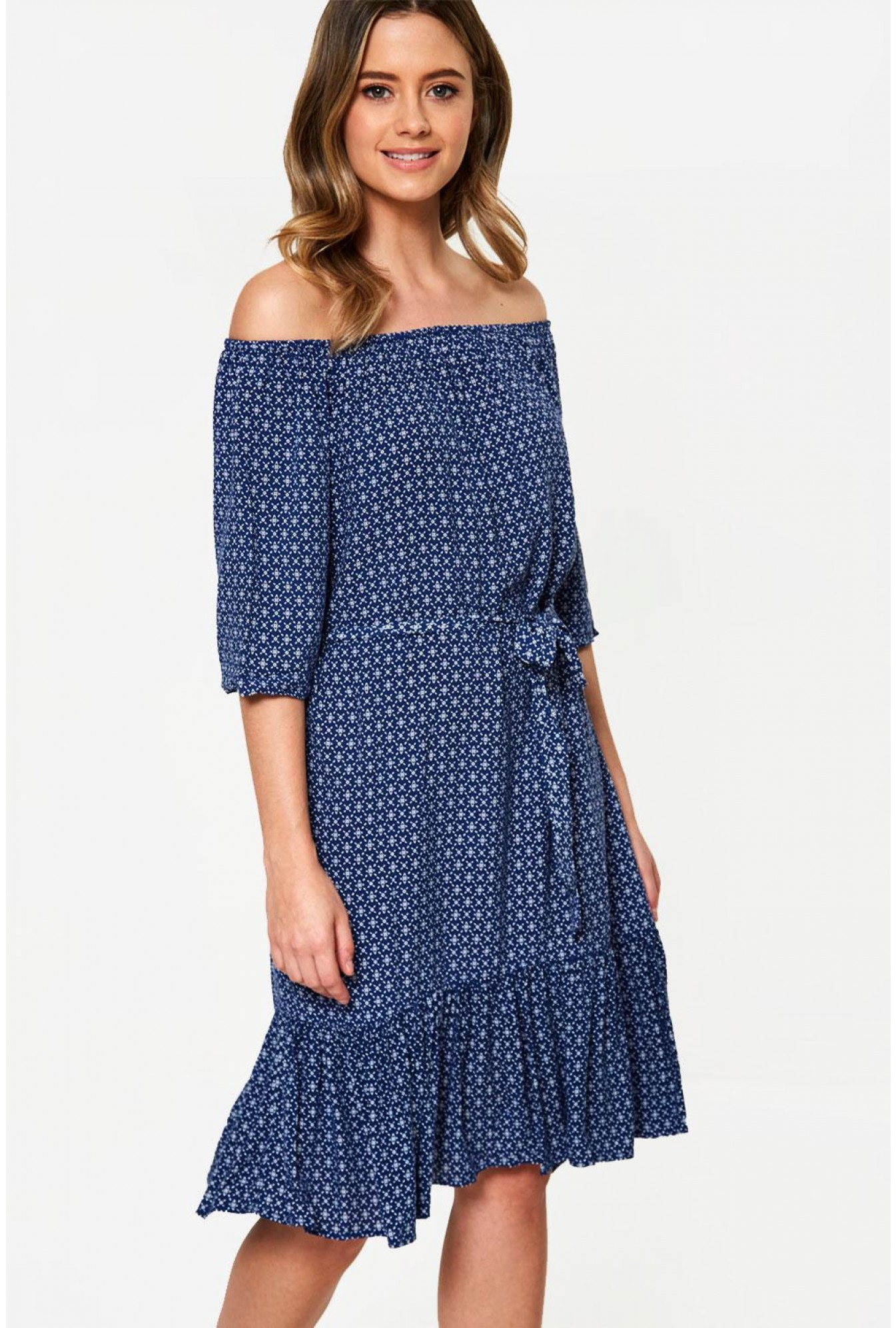 4795b5ab2a7 Printed Off Shoulder Dress in Navy