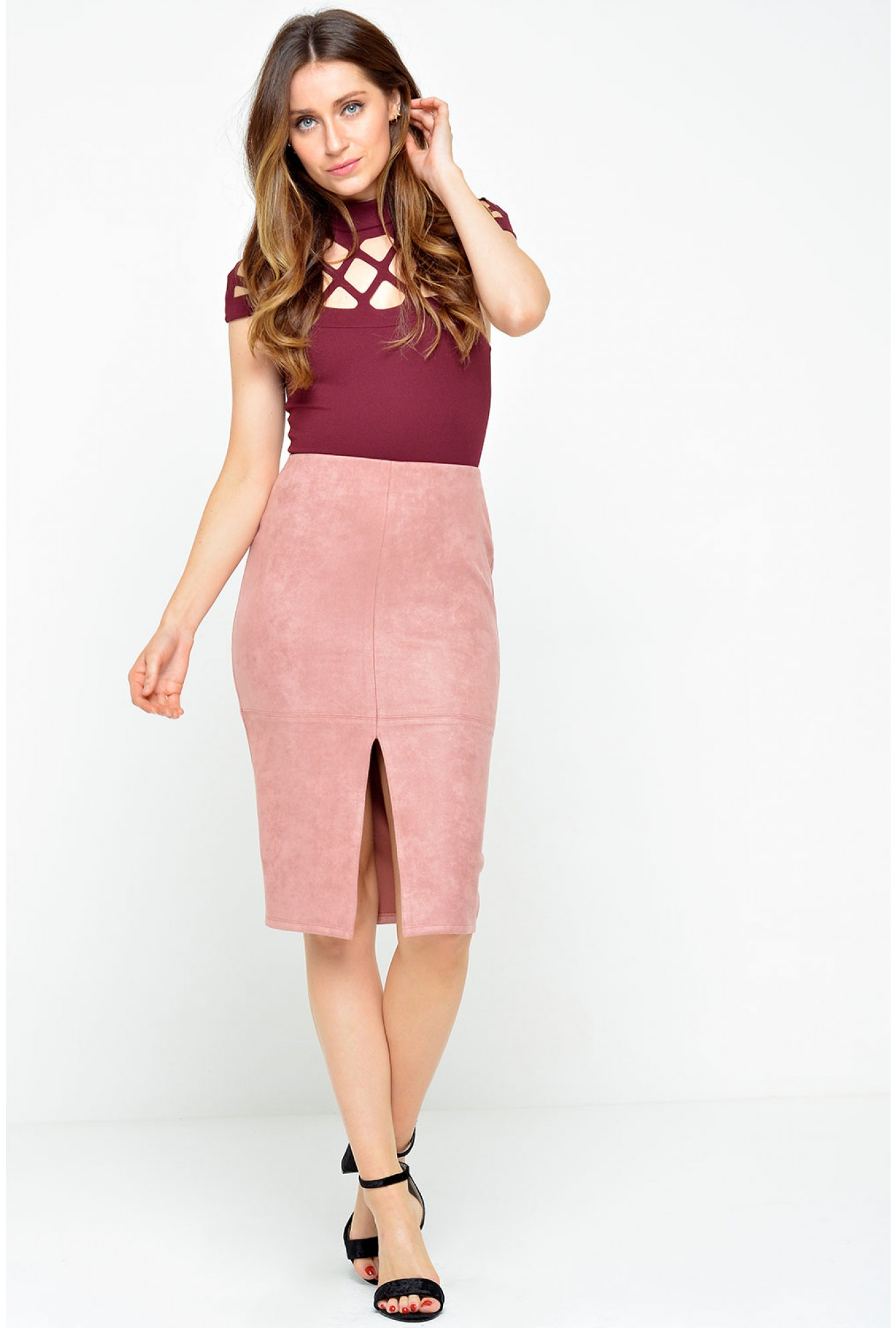c7f50f628c More Views. Lana Suedette Pencil Skirt in Dusty Pink. Glamorous