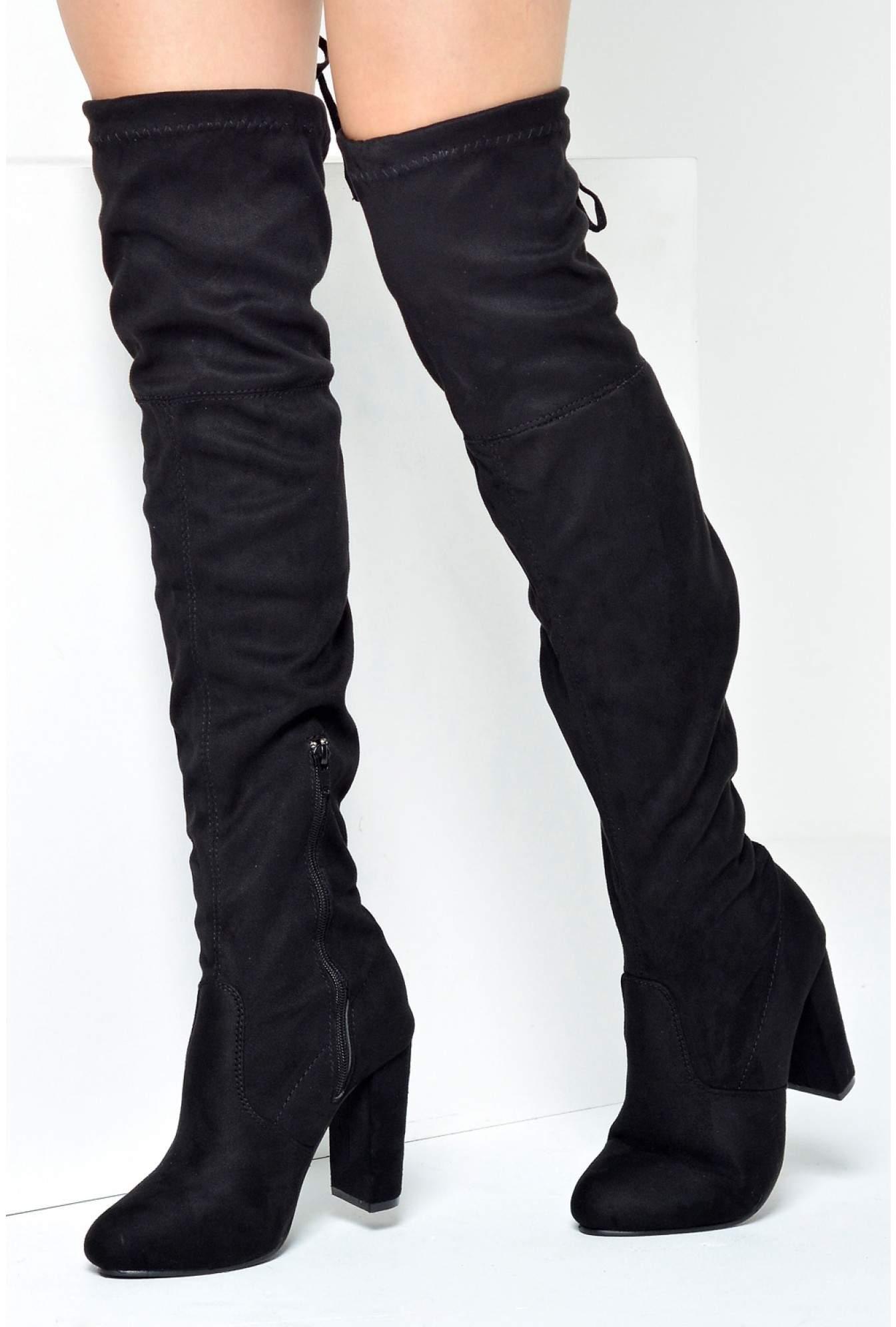 47d5d9ba1d4 More Views. Petal Over the Knee Boots in Black Suede