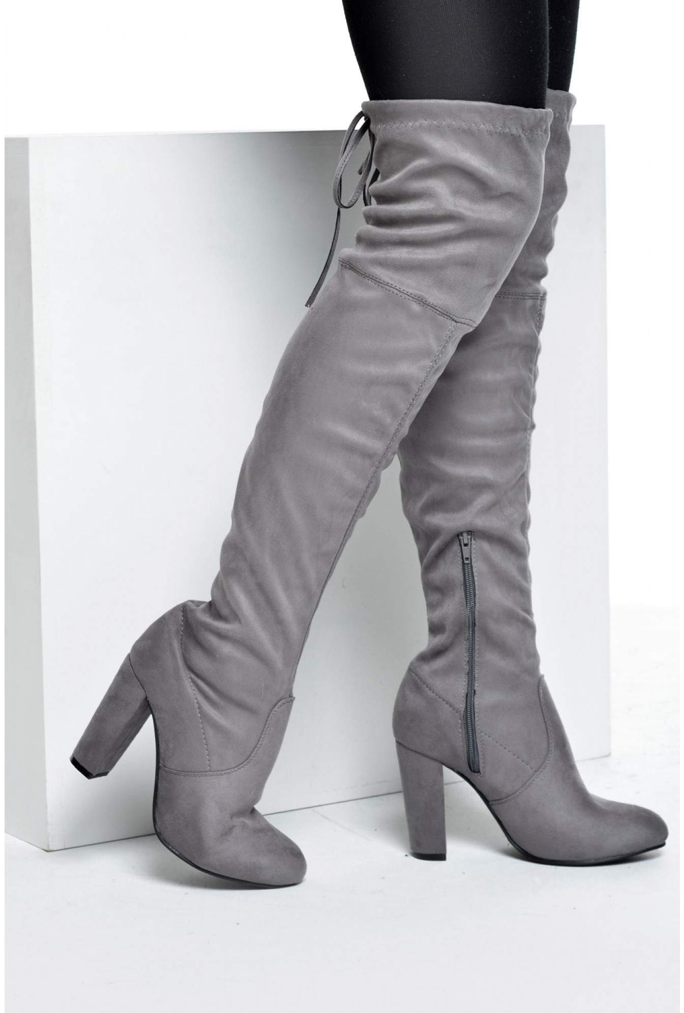 fe1ee18a6e2 No Doubt Petal Over the Knee Boots in Grey Suede   iCLOTHING