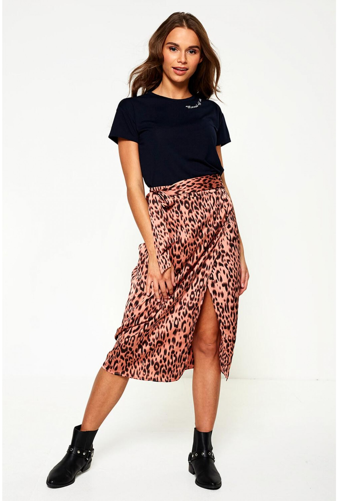 bd2ad9d569 Pixie Daisy Rica Animal Print Midi Skirt in Blush | iCLOTHING