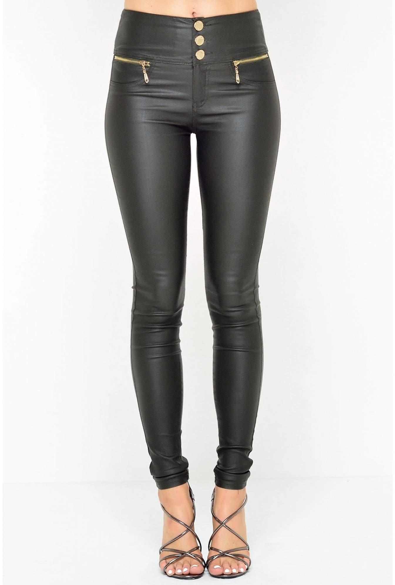 ba375de668256 More Views. Paris High Waisted Wax Look Trousers in Khaki. Denim Club