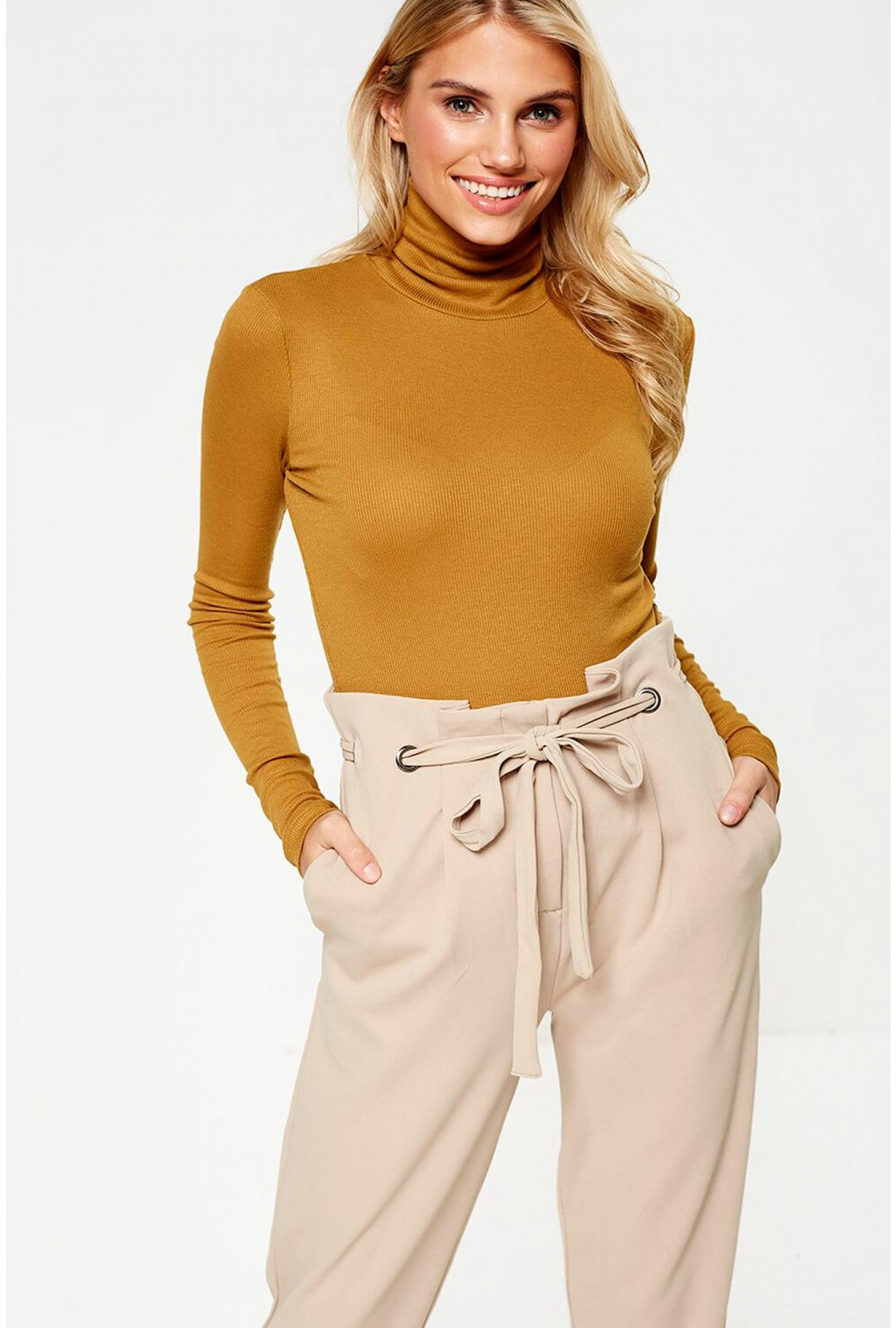 cec74a63d1b Pieces Birdie Roll Neck Top in Mustard | iCLOTHING