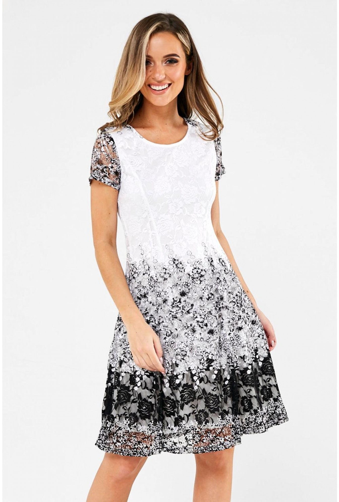 Rose Floral Lace Dress In Monochrome