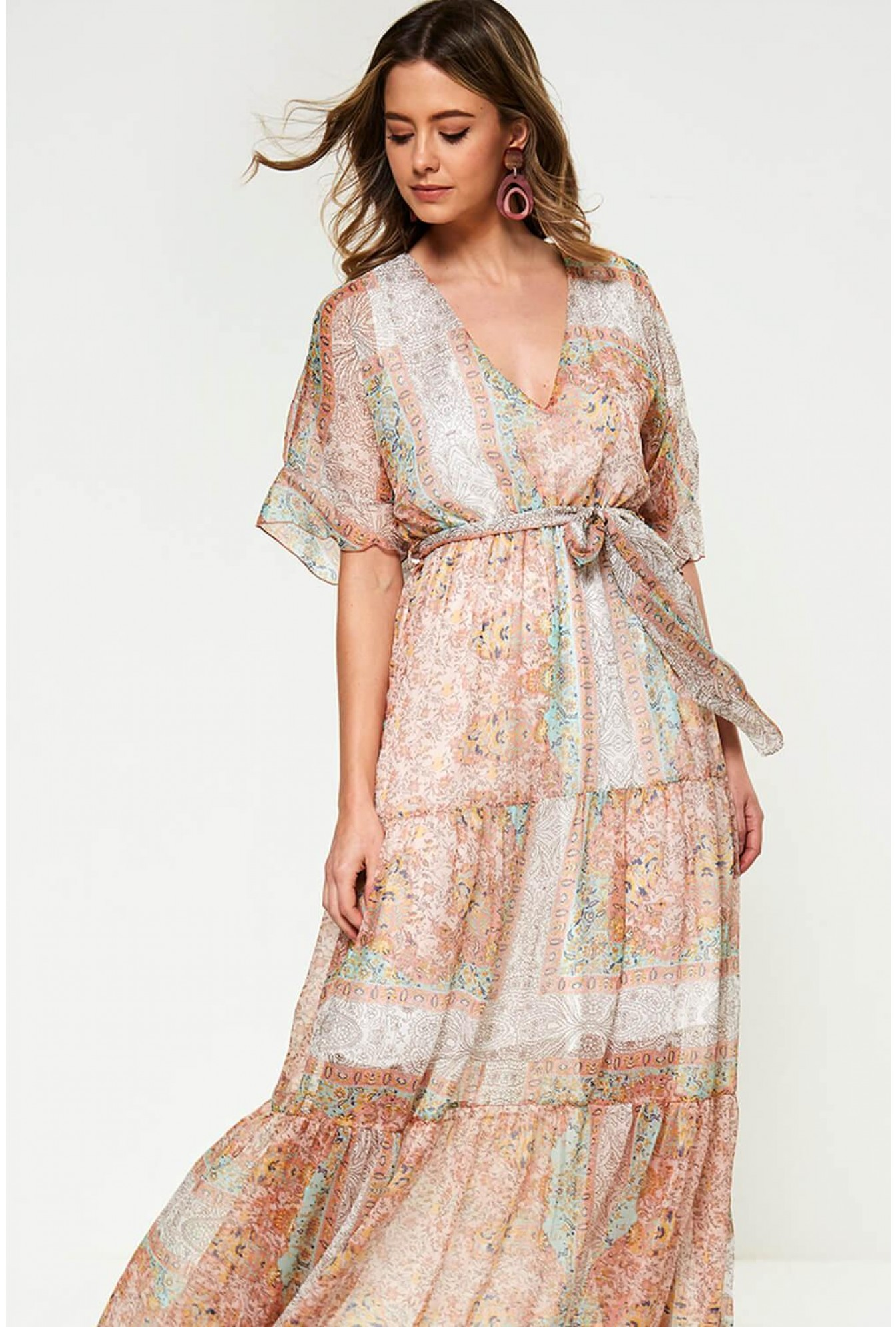 f36272665a John Zack Roxanne Chiffon Print Maxi Dress in Blush | iCLOTHING