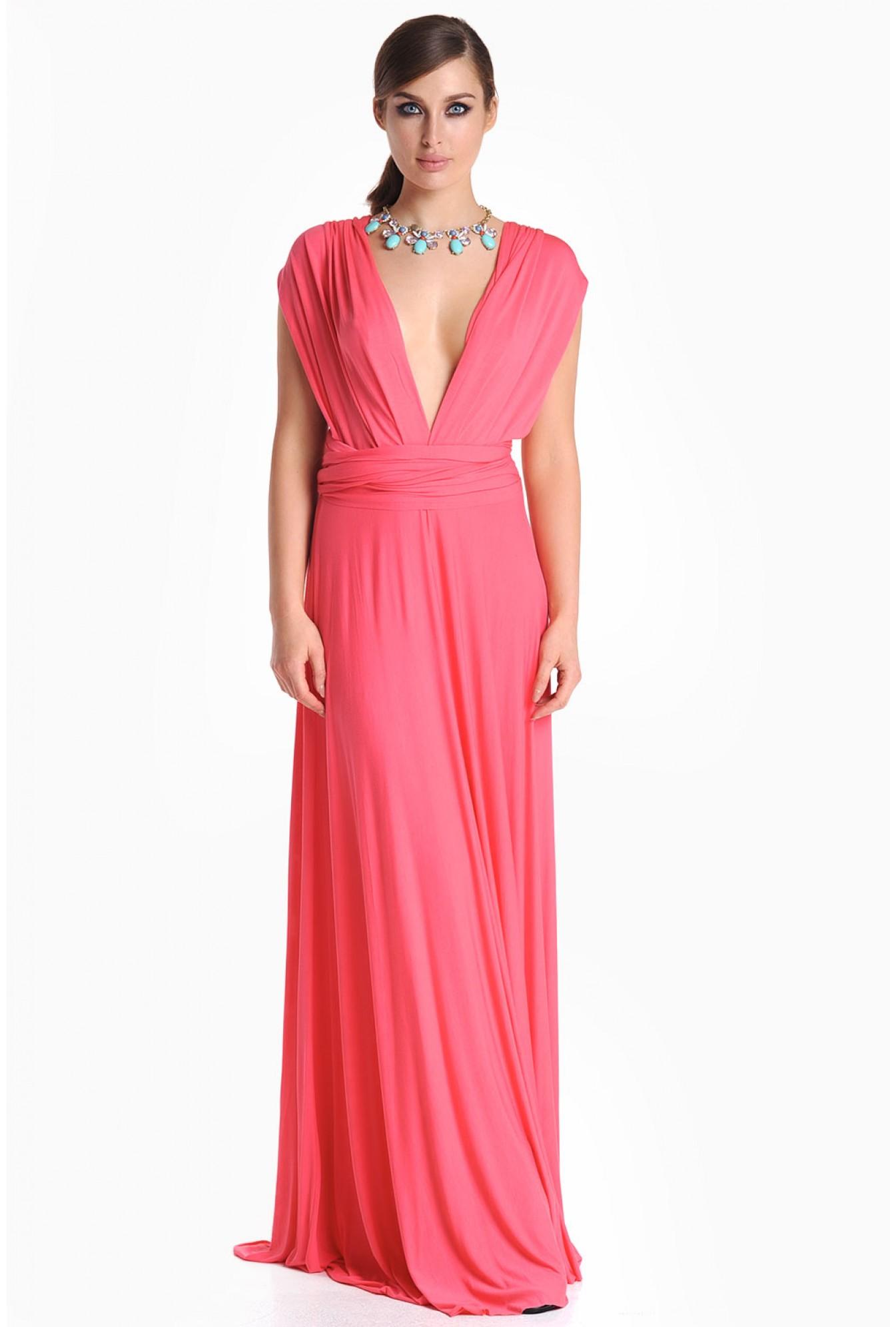 5ca099bd3c iCLOTHING Blair Multi Way Maxi Dress in Coral | iCLOTHING