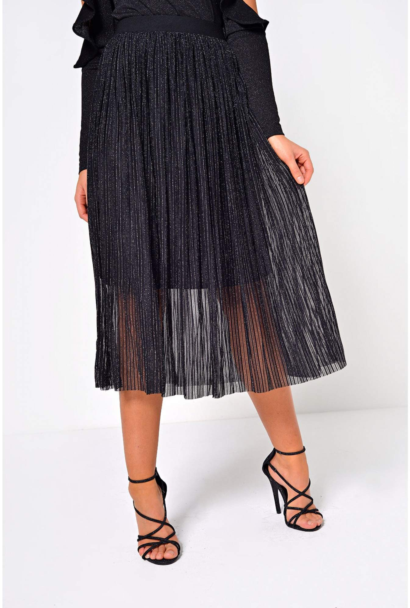 5617a8764f Stella Callie Metallic Thread Skirt in Black | iCLOTHING