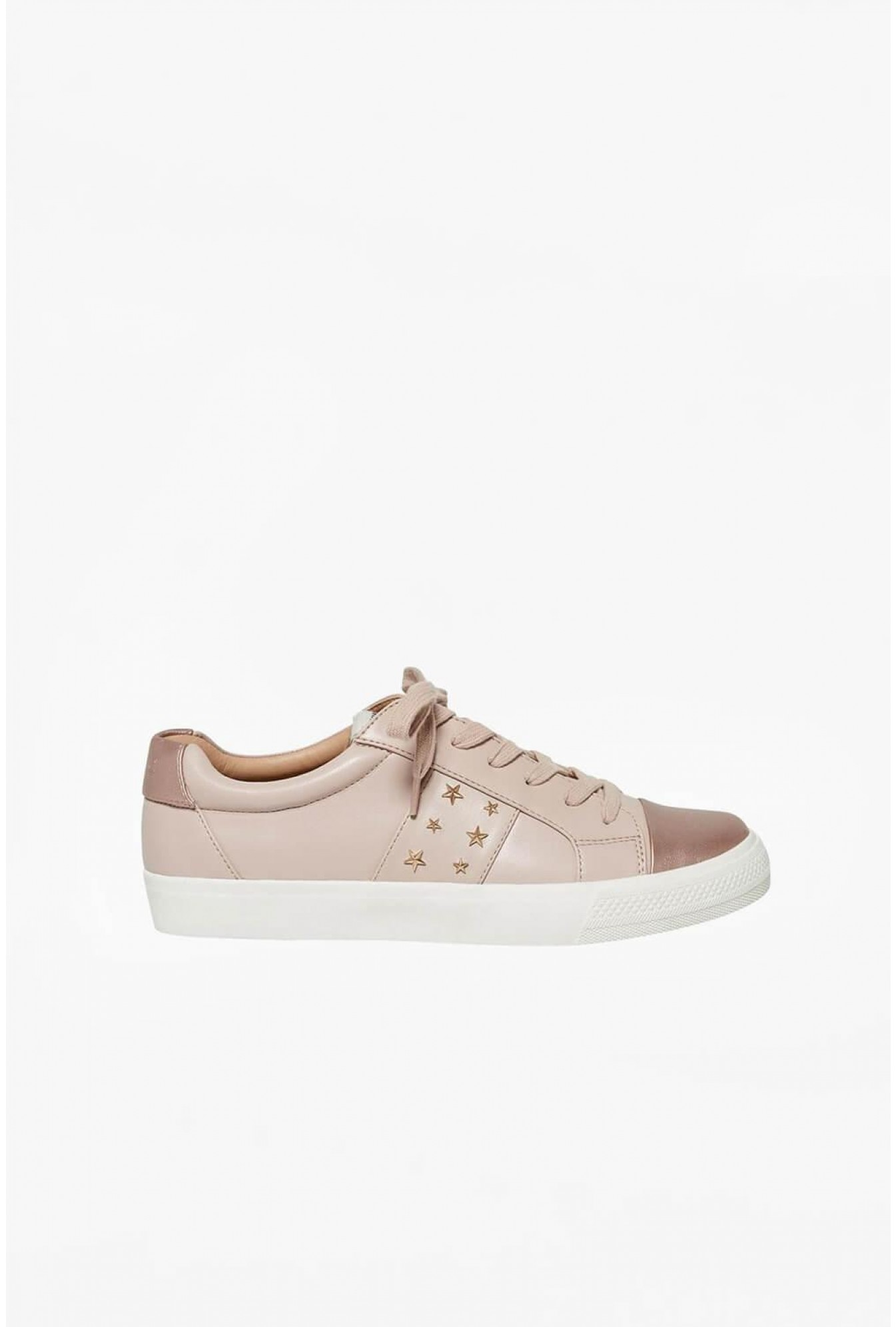 2d780f003b8 Only Skye Lace Up Trainers with Stud Detail in Blush