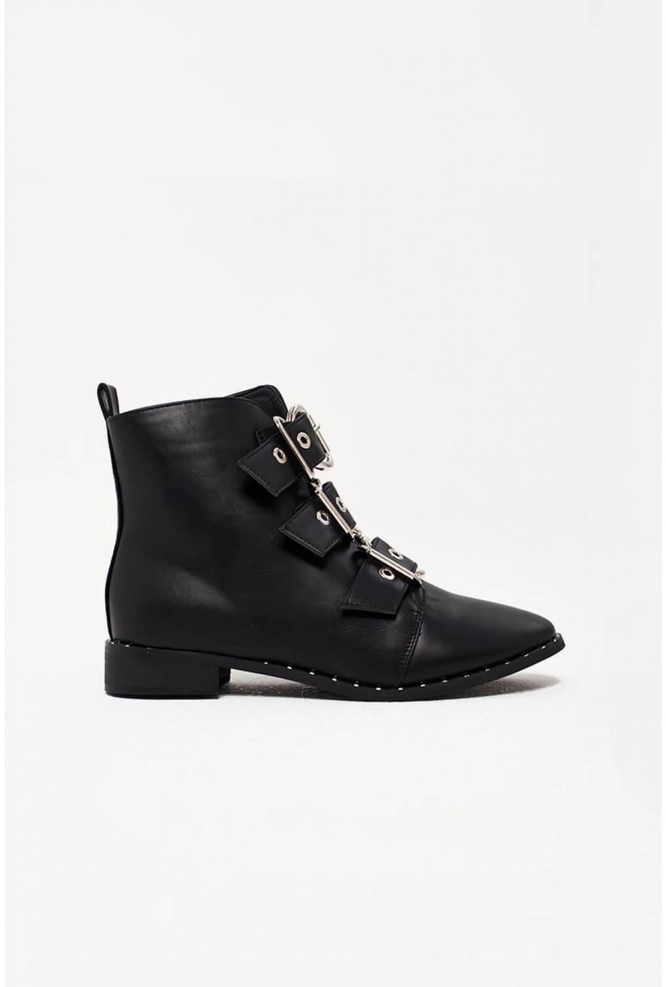 19936fcb302bc No Doubt Tali Biker Boots with Buckle Detail in Black | iCLOTHING